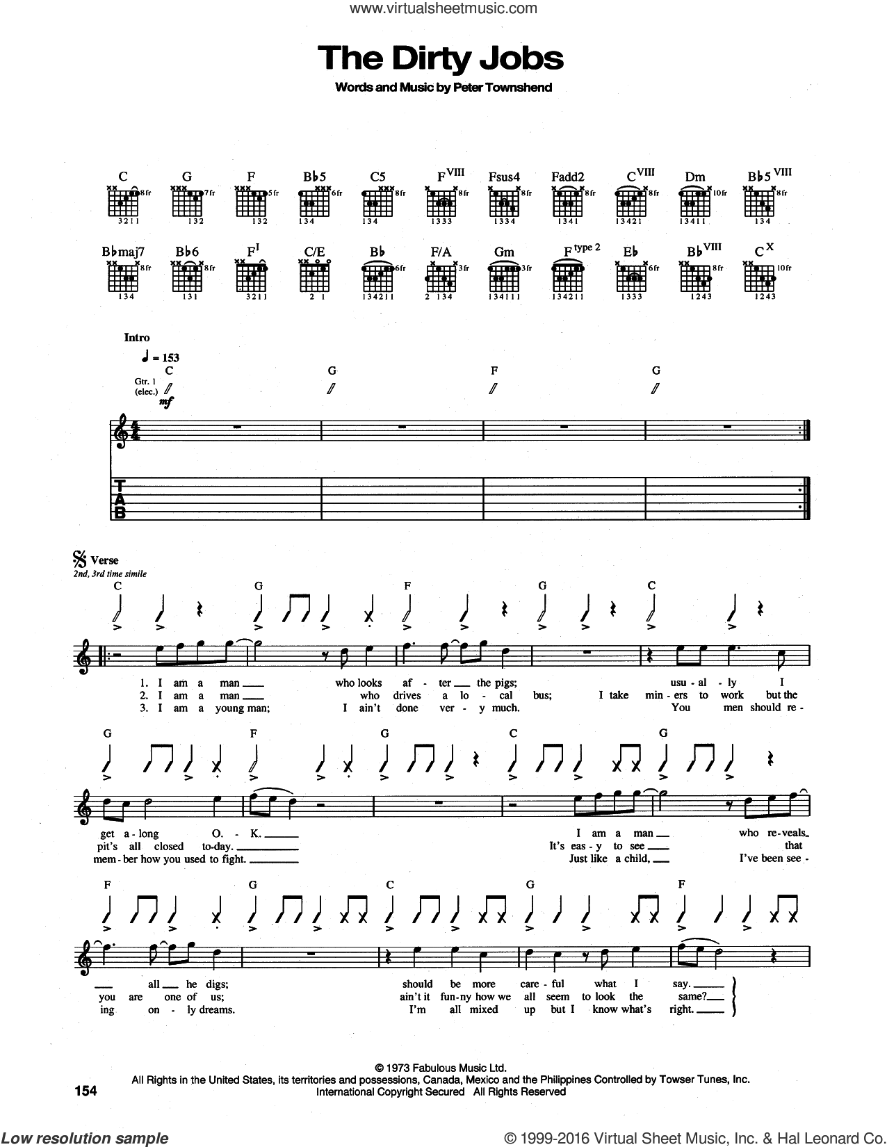 The Dirty Jobs sheet music for guitar (tablature) by The Who and Pete Townshend, intermediate skill level