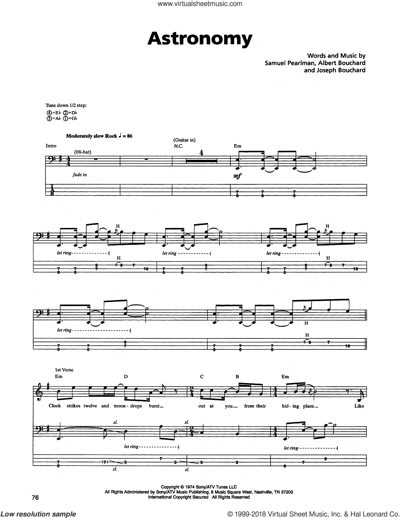 Astronomy sheet music for bass (tablature) (bass guitar) by Samuel Pearlman, Blue Oyster Cult and Albert Bouchard. Score Image Preview.