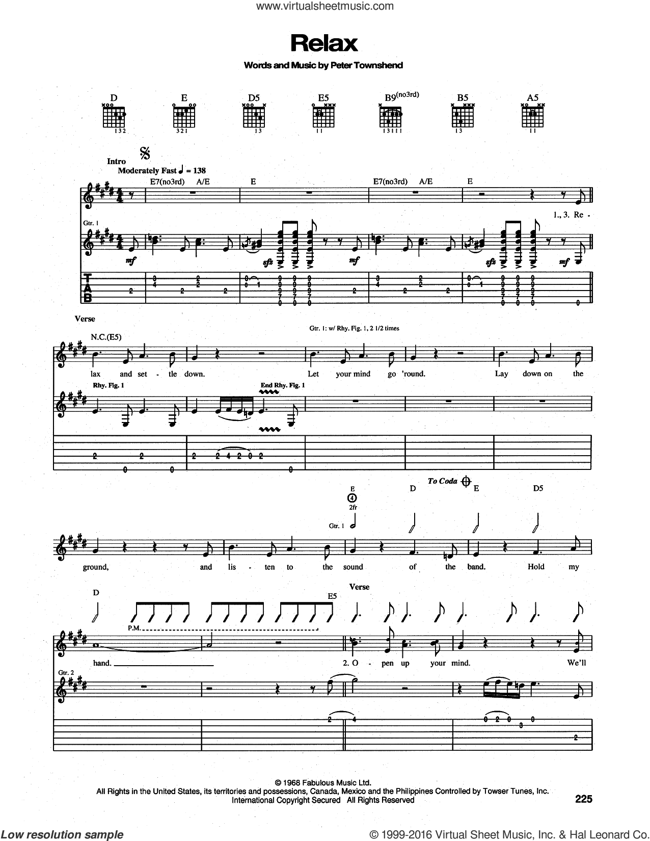 Relax sheet music for guitar (tablature) by The Who and Pete Townshend, intermediate skill level