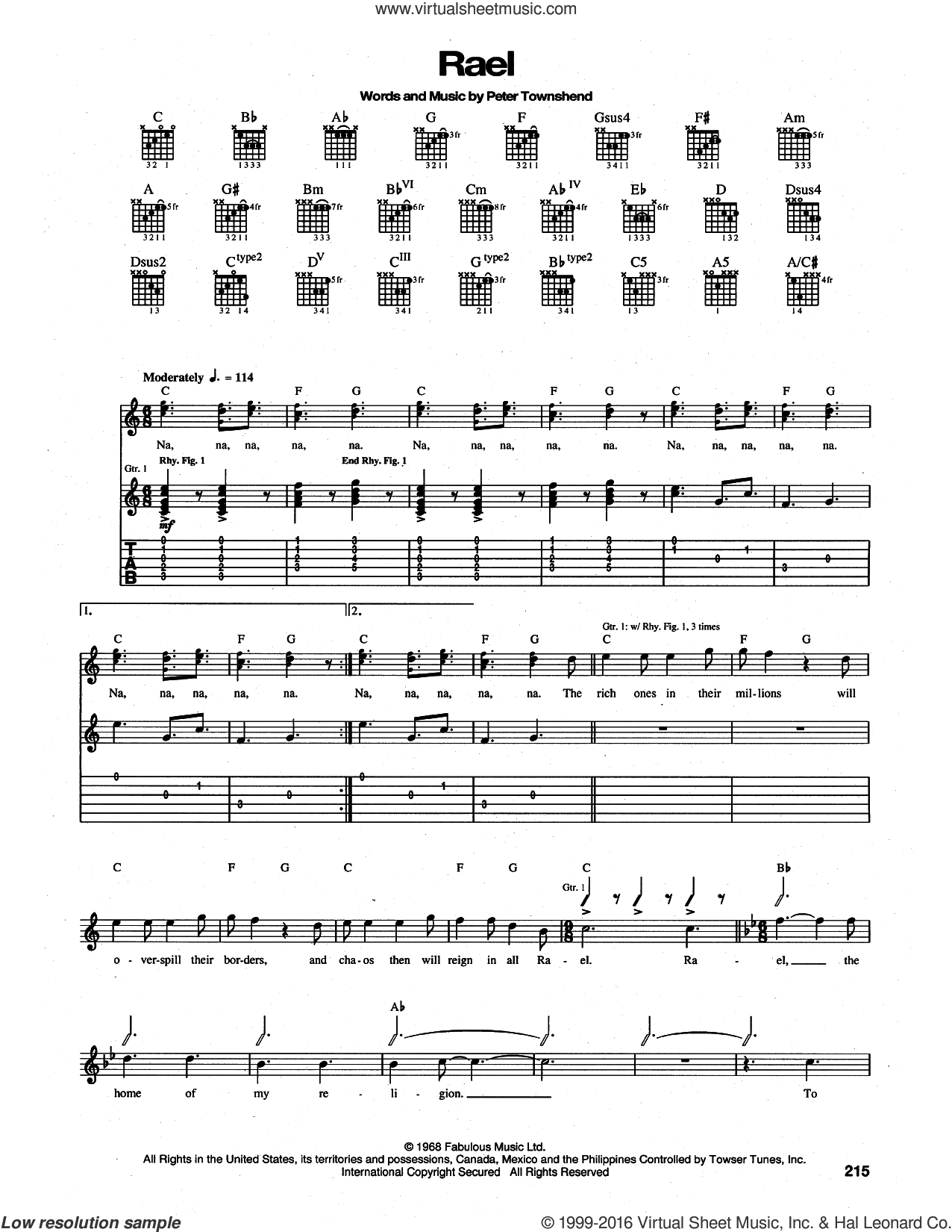 Rael sheet music for guitar (tablature) by Pete Townshend and The Who. Score Image Preview.