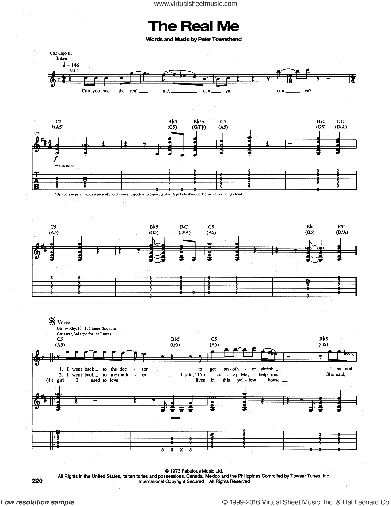 The Real Me sheet music for guitar (tablature) by The Who and Pete Townshend. Score Image Preview.