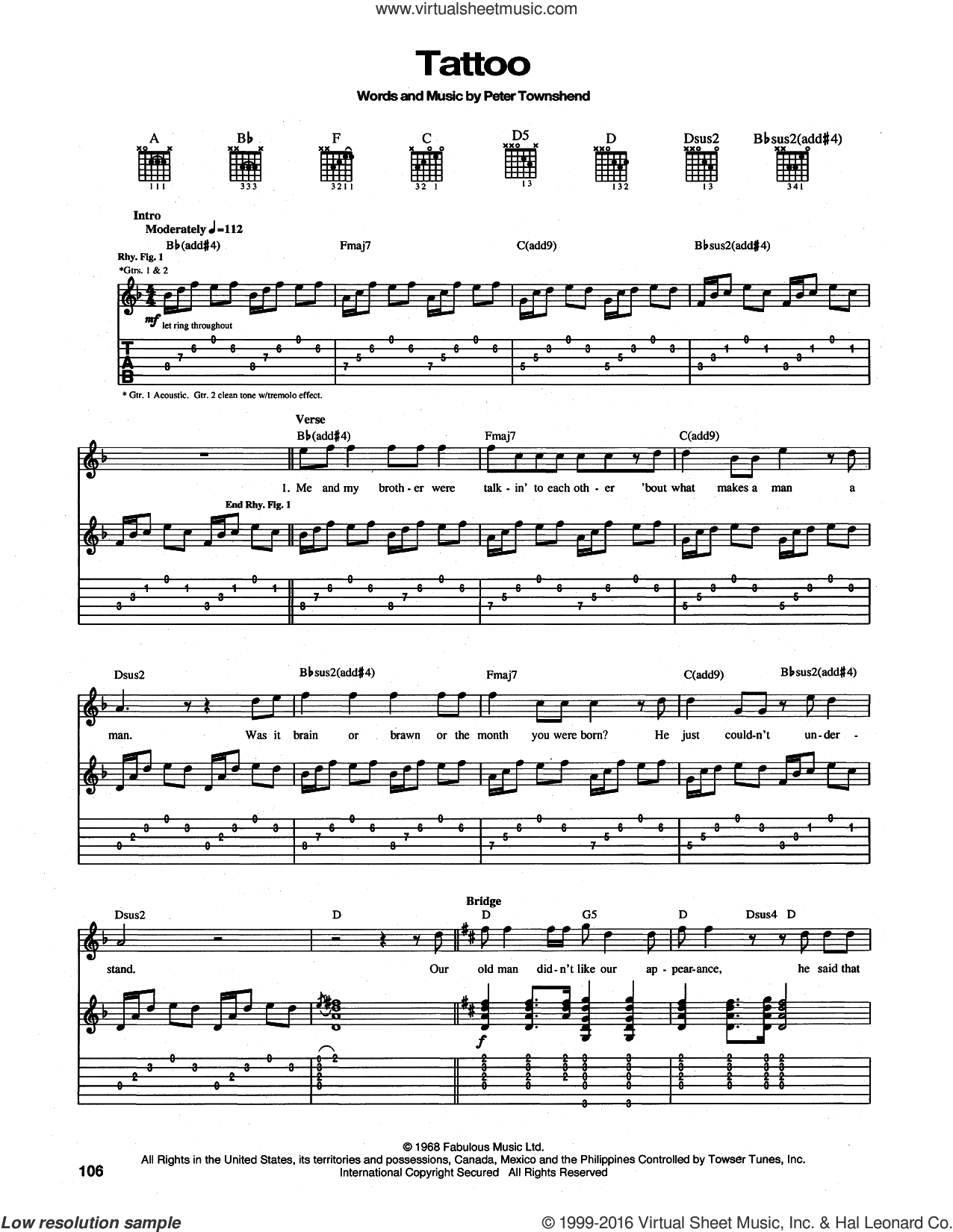 Tattoo sheet music for guitar (tablature) by The Who and Pete Townshend. Score Image Preview.