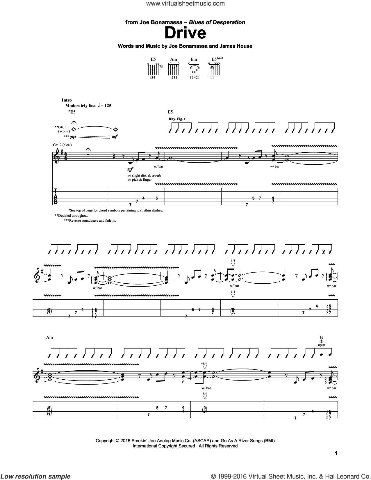 Drive sheet music for guitar (tablature) by James House and Joe Bonamassa. Score Image Preview.