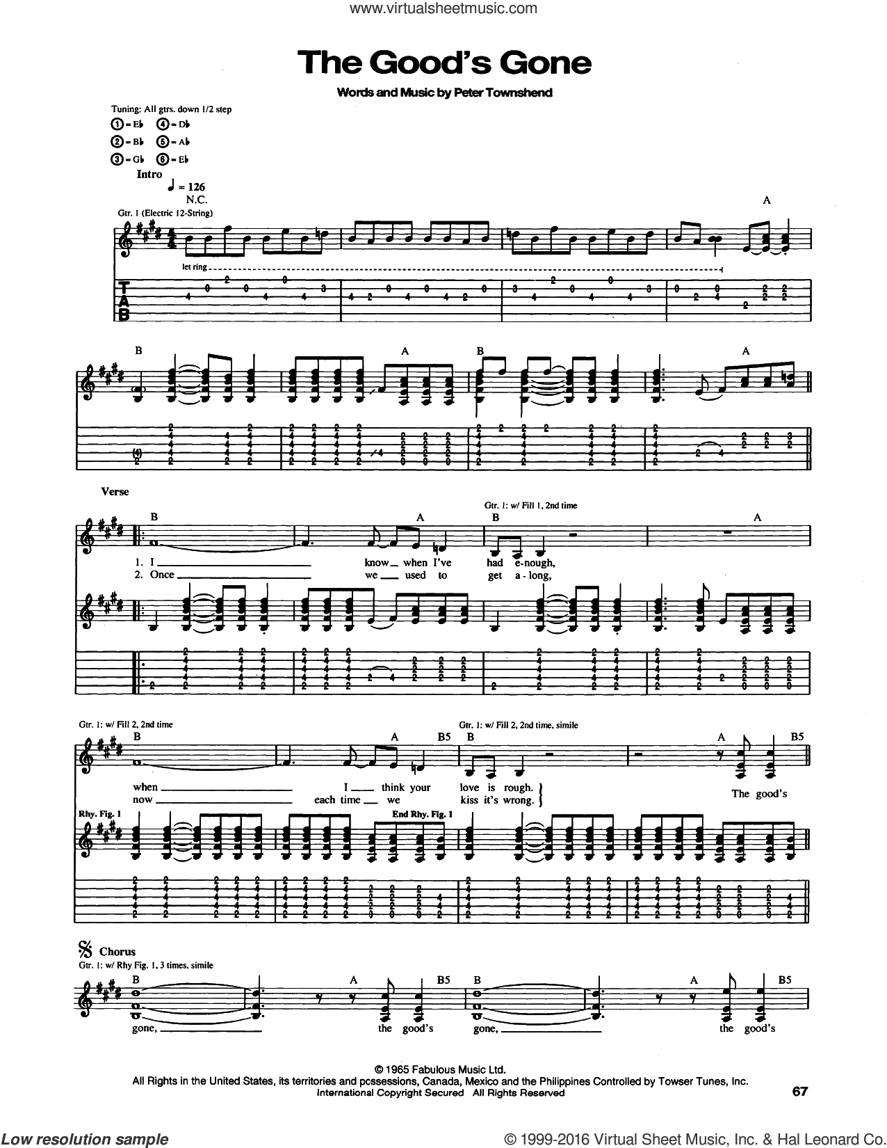 The Good's Gone sheet music for guitar (tablature) by Pete Townshend and The Who. Score Image Preview.
