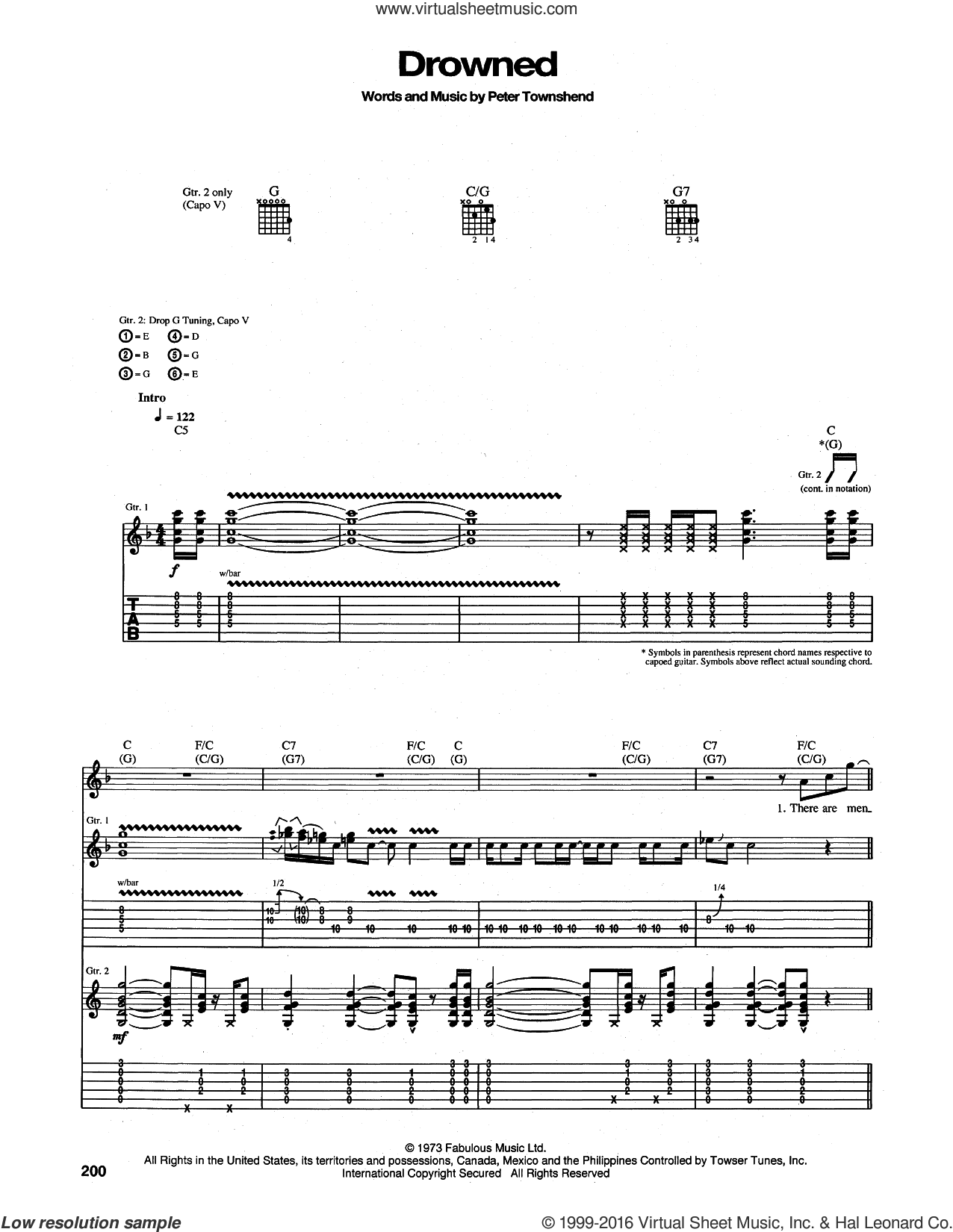 Drowned sheet music for guitar (tablature) by The Who and Pete Townshend, intermediate. Score Image Preview.