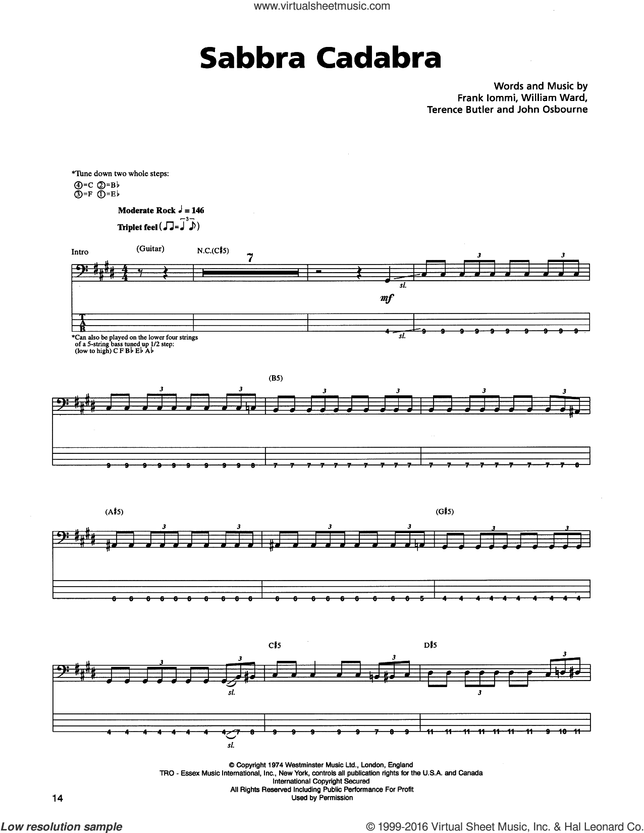 Sabbra Cadabra sheet music for bass (tablature) (bass guitar) by Metallica, Black Sabbath, Frank Iommi, John Osbourne, Terence Butler and William Ward, intermediate skill level