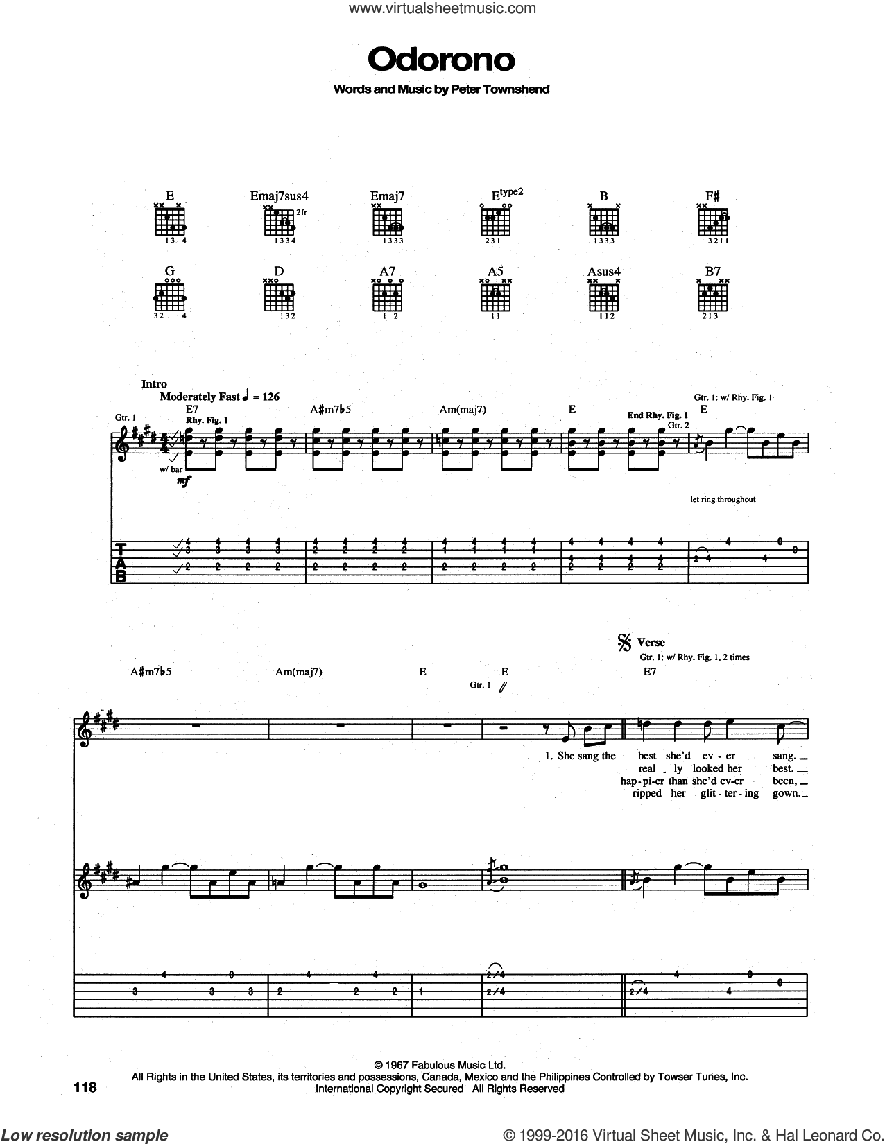 Odorono sheet music for guitar (tablature) by The Who and Pete Townshend, intermediate. Score Image Preview.