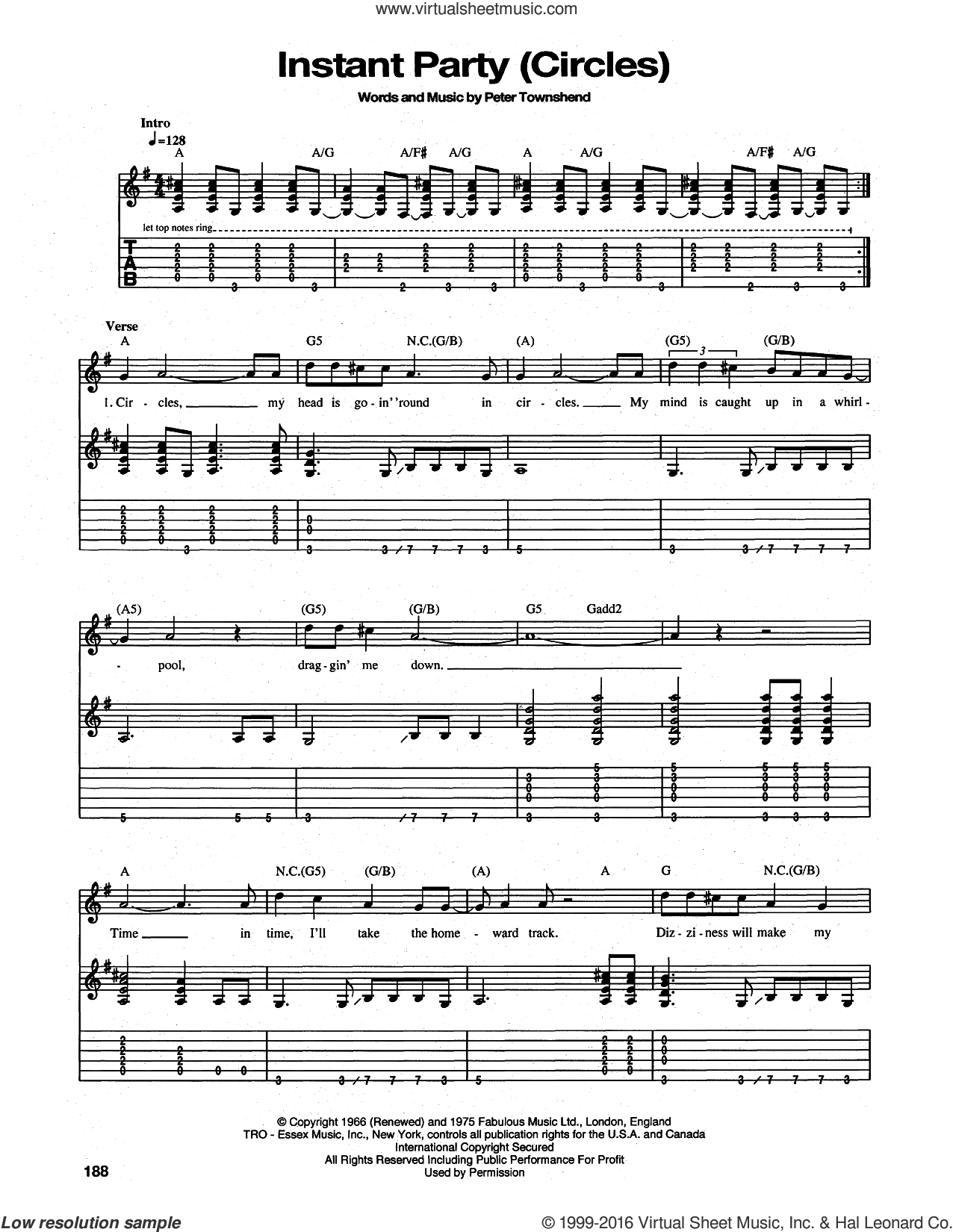 Instant Party (Circles) sheet music for guitar (tablature) by The Who and Pete Townshend. Score Image Preview.