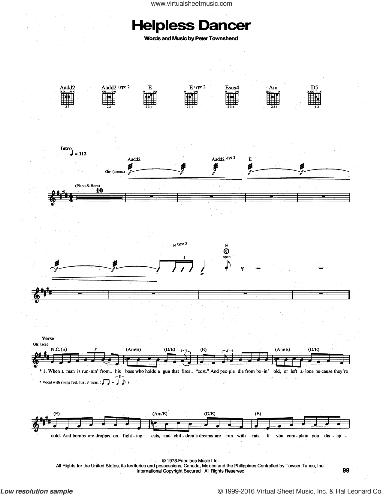 Helpless Dancer sheet music for guitar (tablature) by The Who and Pete Townshend, intermediate guitar (tablature). Score Image Preview.