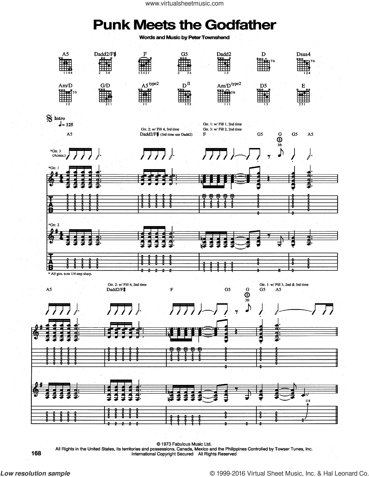 The Punk Meets The Godfather sheet music for guitar (tablature) by Pete Townshend and The Who. Score Image Preview.