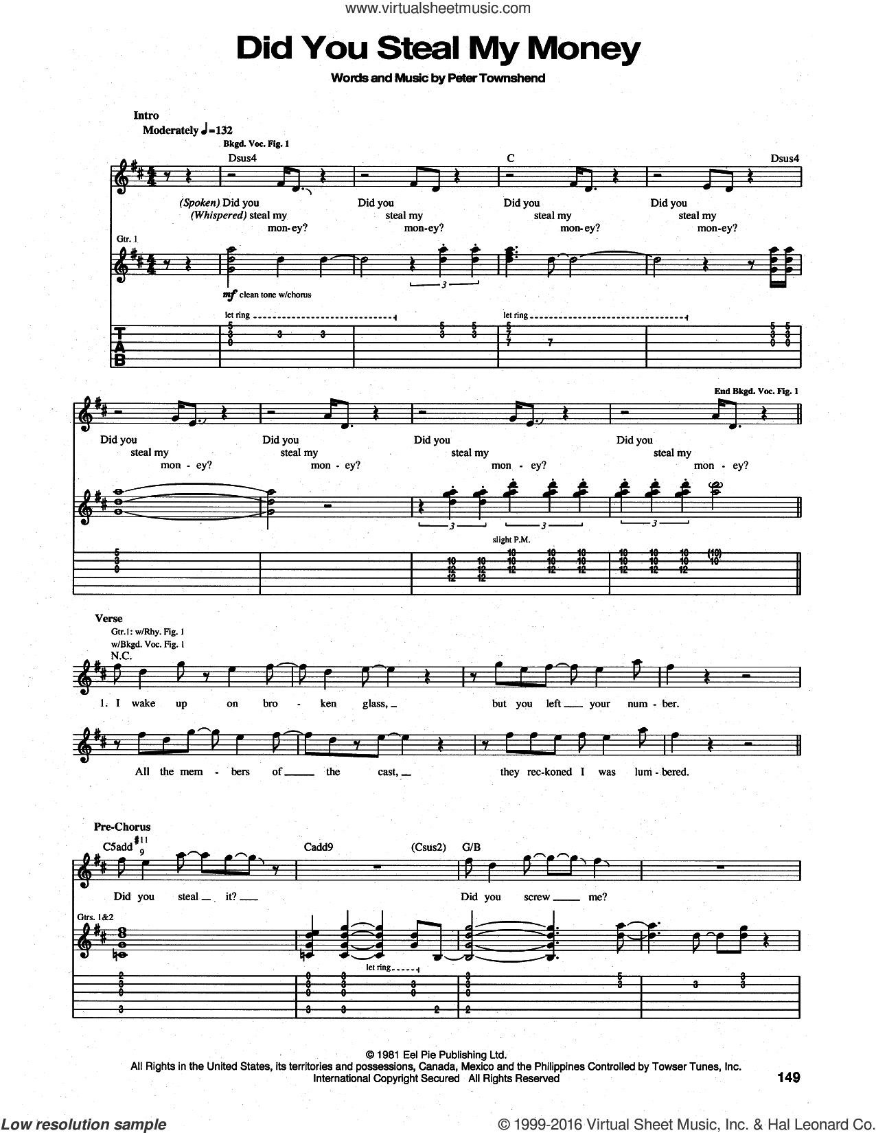 Did You Steal My Money sheet music for guitar (tablature) by The Who and Pete Townshend, intermediate. Score Image Preview.