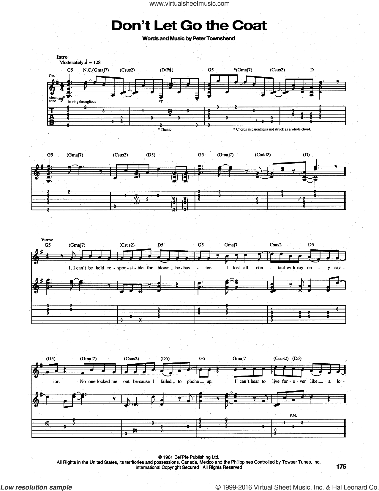 Don't Let Go The Coat sheet music for guitar (tablature) by Pete Townshend and The Who. Score Image Preview.