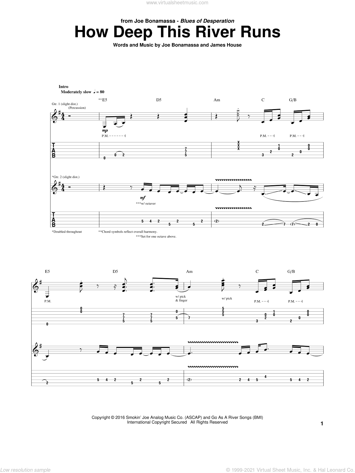 How Deep This River Runs sheet music for guitar (tablature) by James House and Joe Bonamassa. Score Image Preview.