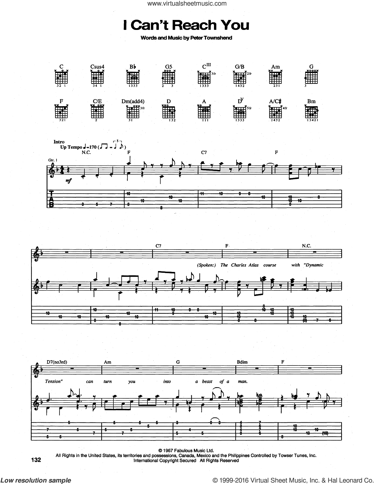 I Can't Reach You sheet music for guitar (tablature) by The Who and Pete Townshend, intermediate