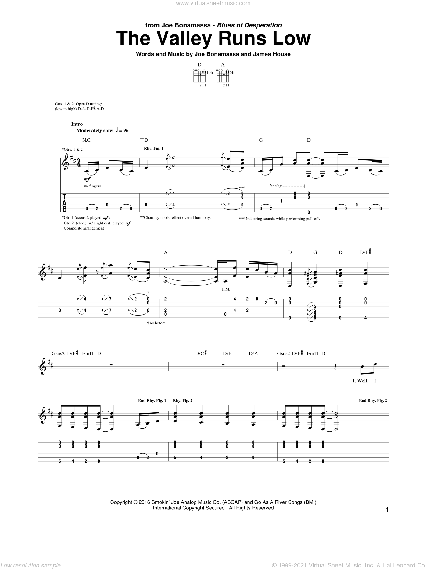 The Valley Runs Low sheet music for guitar (tablature) by Joe Bonamassa. Score Image Preview.