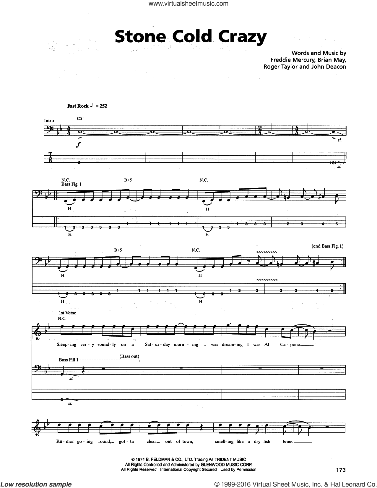 Stone Cold Crazy sheet music for bass (tablature) (bass guitar) by Roger Taylor, Metallica, Queen, Brian May, Freddie Mercury and John Deacon. Score Image Preview.