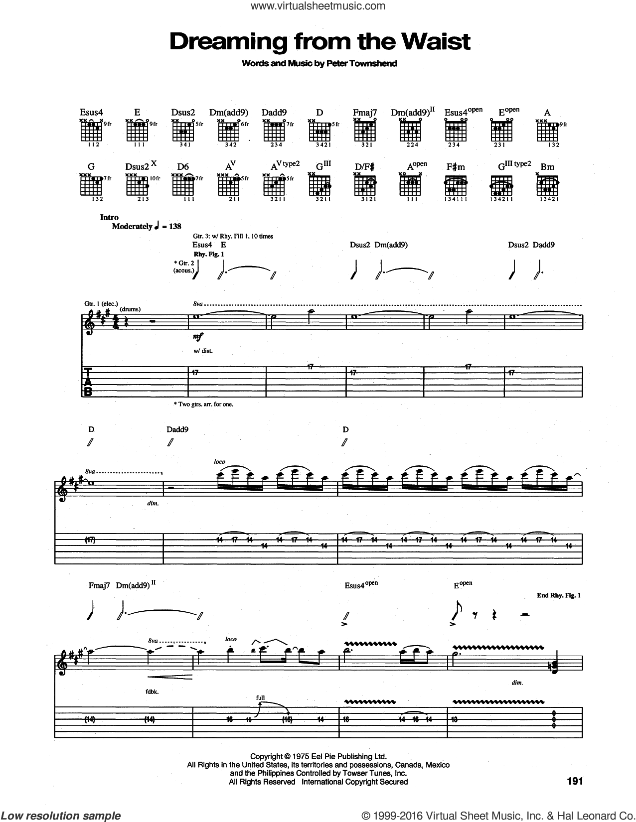 Dreaming From the Waist sheet music for guitar (tablature) by The Who and Pete Townshend, intermediate. Score Image Preview.