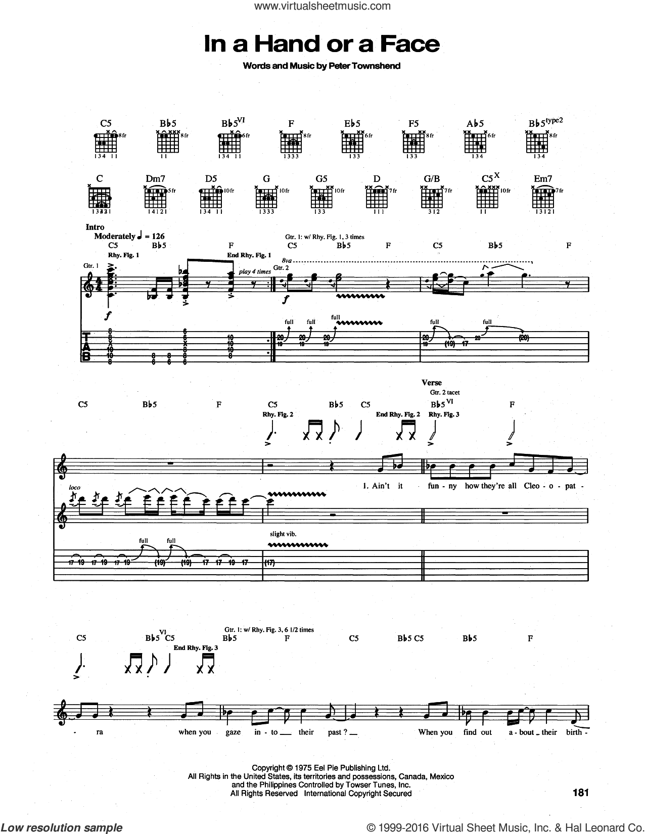 In A Hand Or A Face sheet music for guitar (tablature) by The Who and Pete Townshend, intermediate skill level