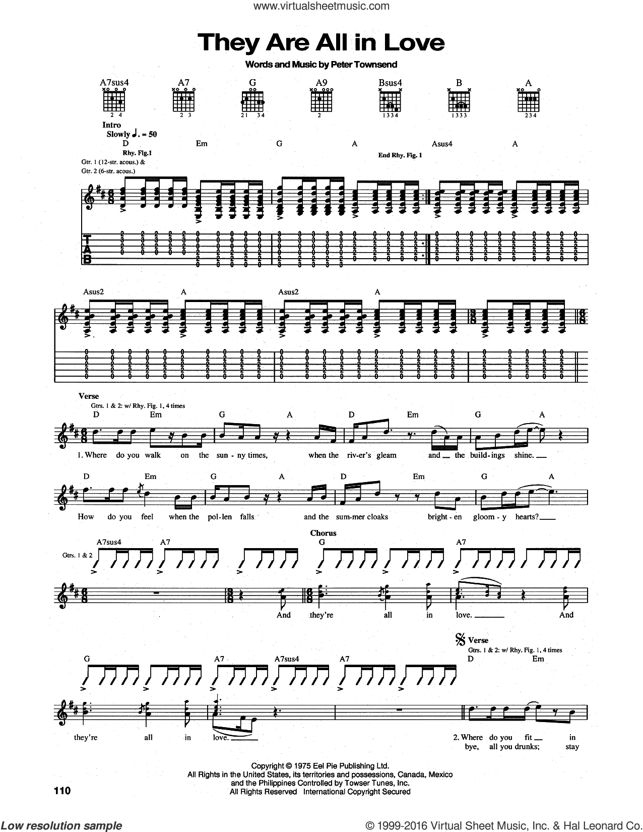 They Are All In Love sheet music for guitar (tablature) by The Who and Pete Townshend, intermediate guitar (tablature). Score Image Preview.