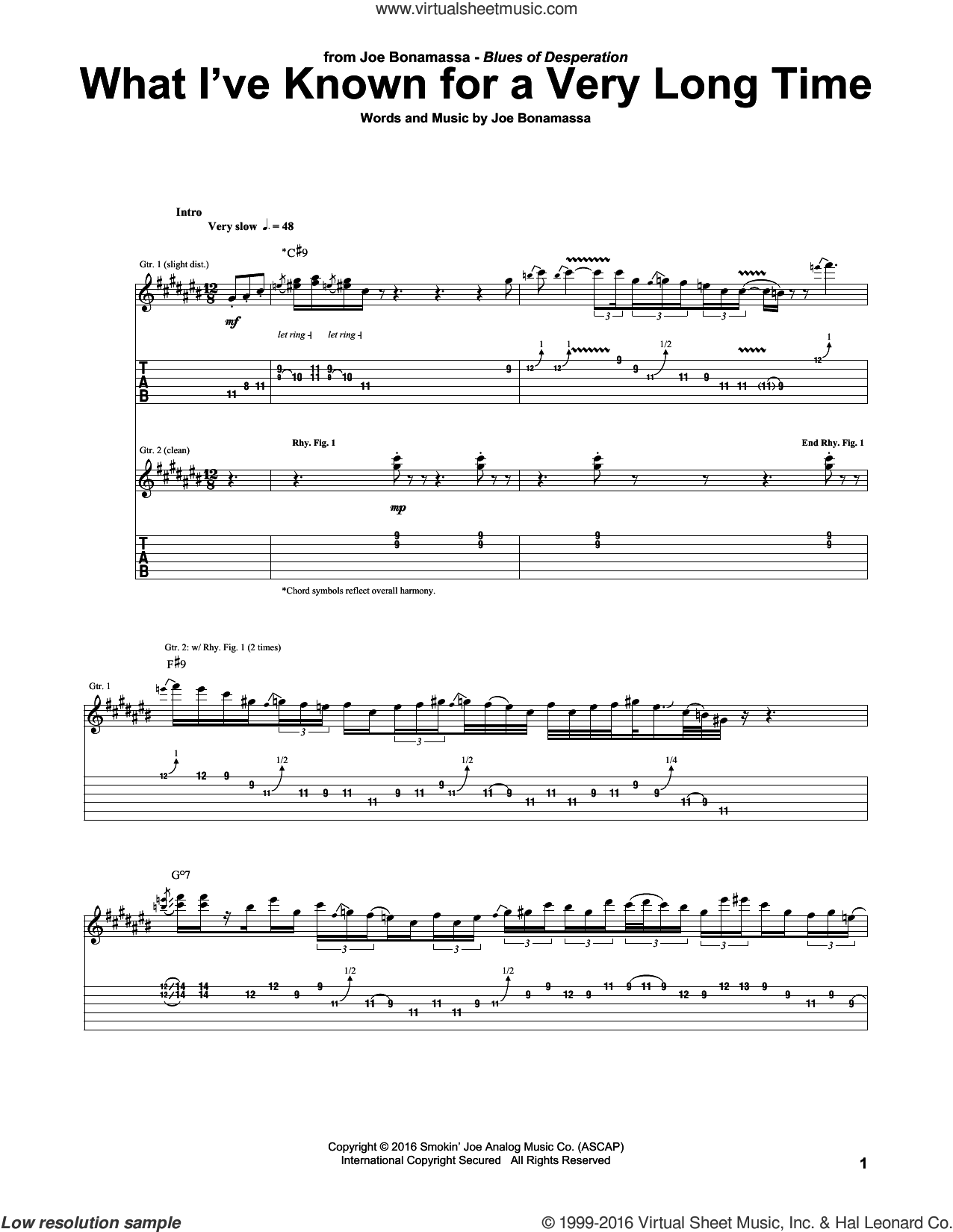What I've Known For A Very Long Time sheet music for guitar (tablature) by Joe Bonamassa, intermediate. Score Image Preview.