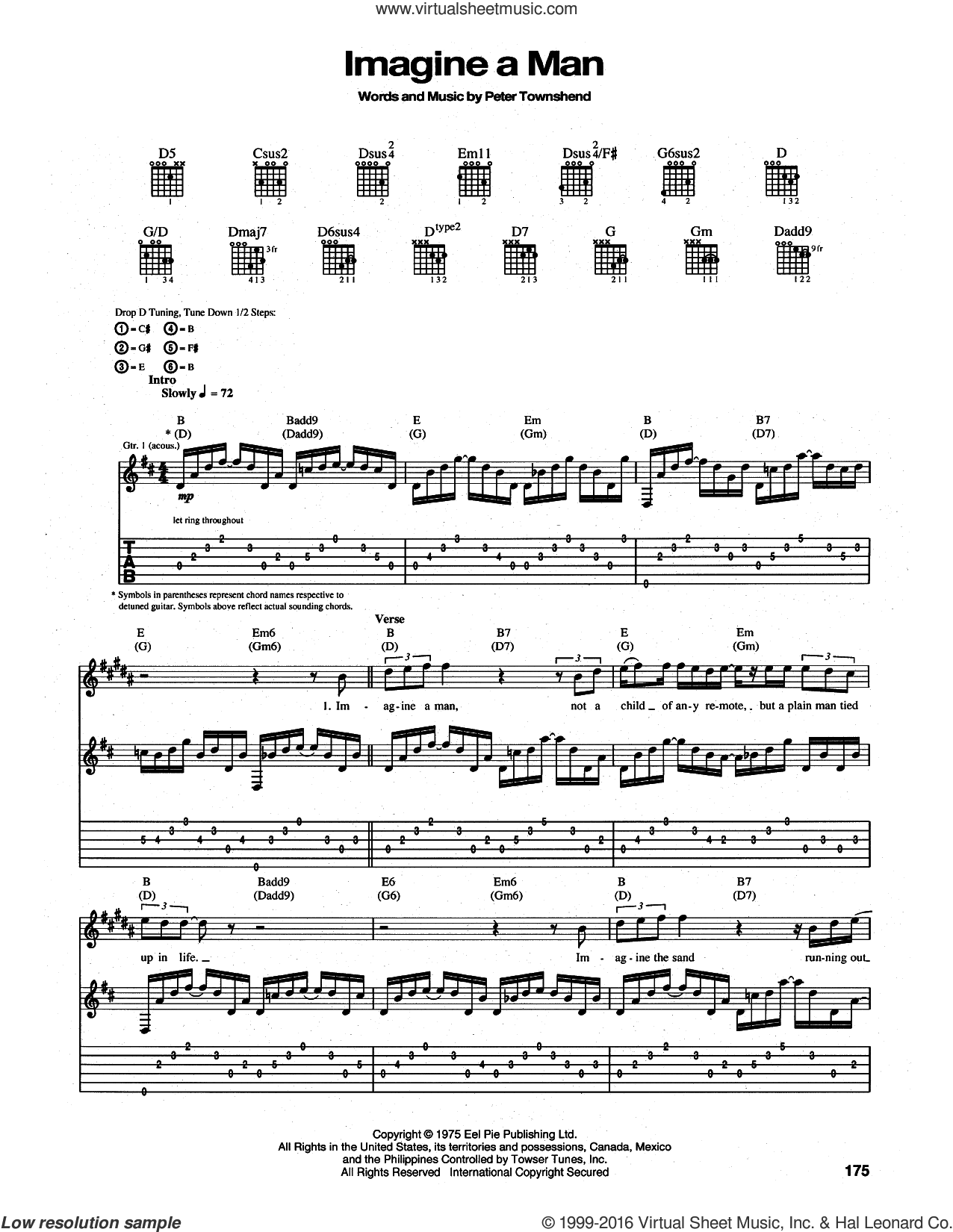 Imagine a Man sheet music for guitar (tablature) by The Who and Pete Townshend, intermediate