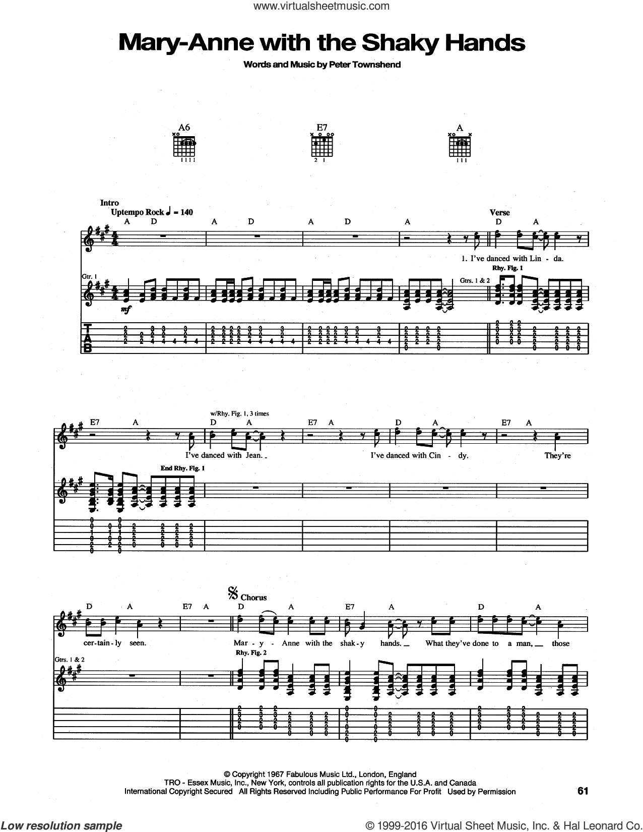 Mary-Anne With The Shaky Hands sheet music for guitar (tablature) by Pete Townshend and The Who. Score Image Preview.