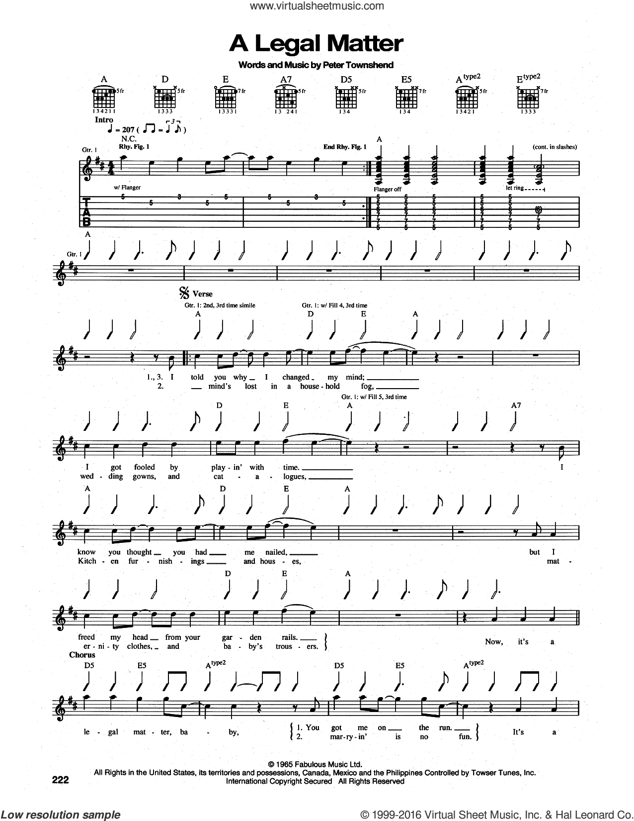 A Legal Matter sheet music for guitar (tablature) by The Who and Pete Townshend, intermediate. Score Image Preview.