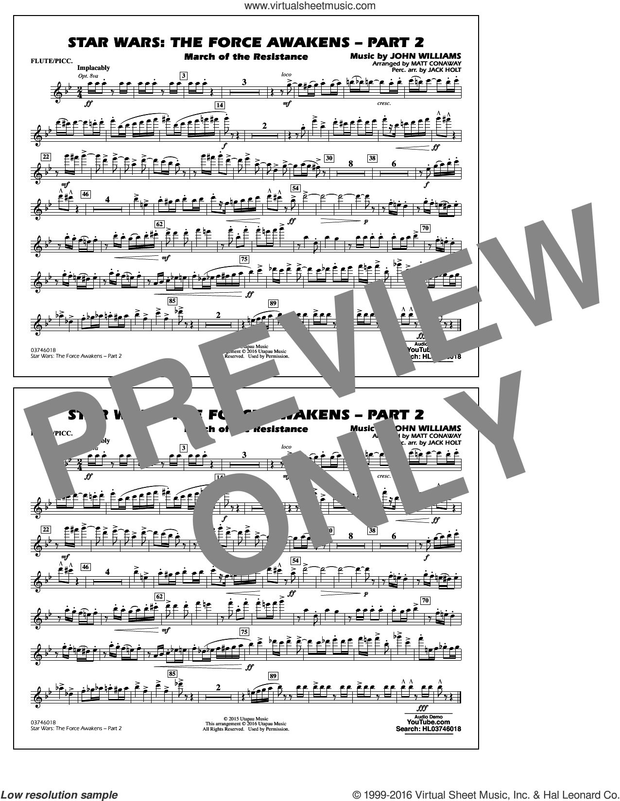 Star Wars: The Force Awakens, part 2 sheet music for marching band (flute/piccolo) by John Williams and Matt Conaway, classical score, intermediate. Score Image Preview.