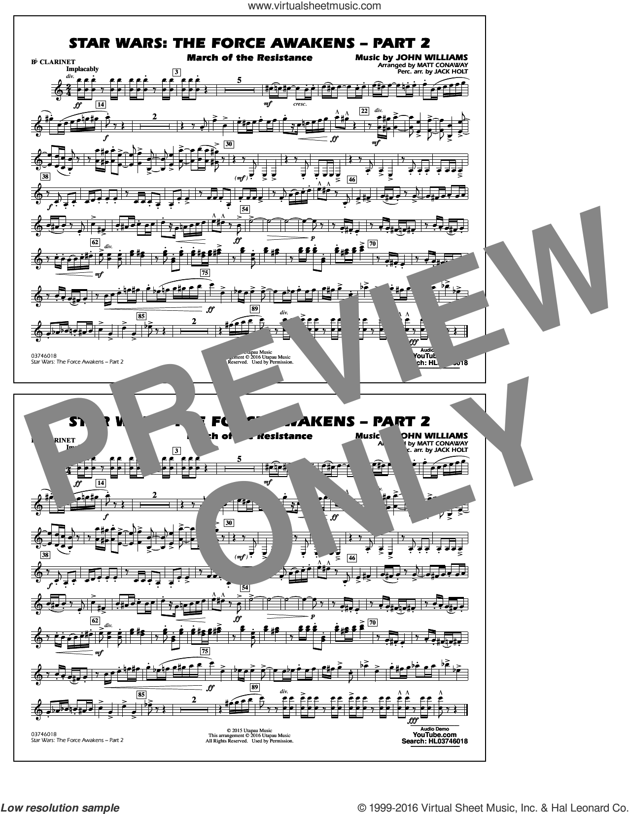 Star Wars: The Force Awakens, part 2 sheet music for marching band (Bb clarinet) by John Williams and Matt Conaway, classical score, intermediate skill level
