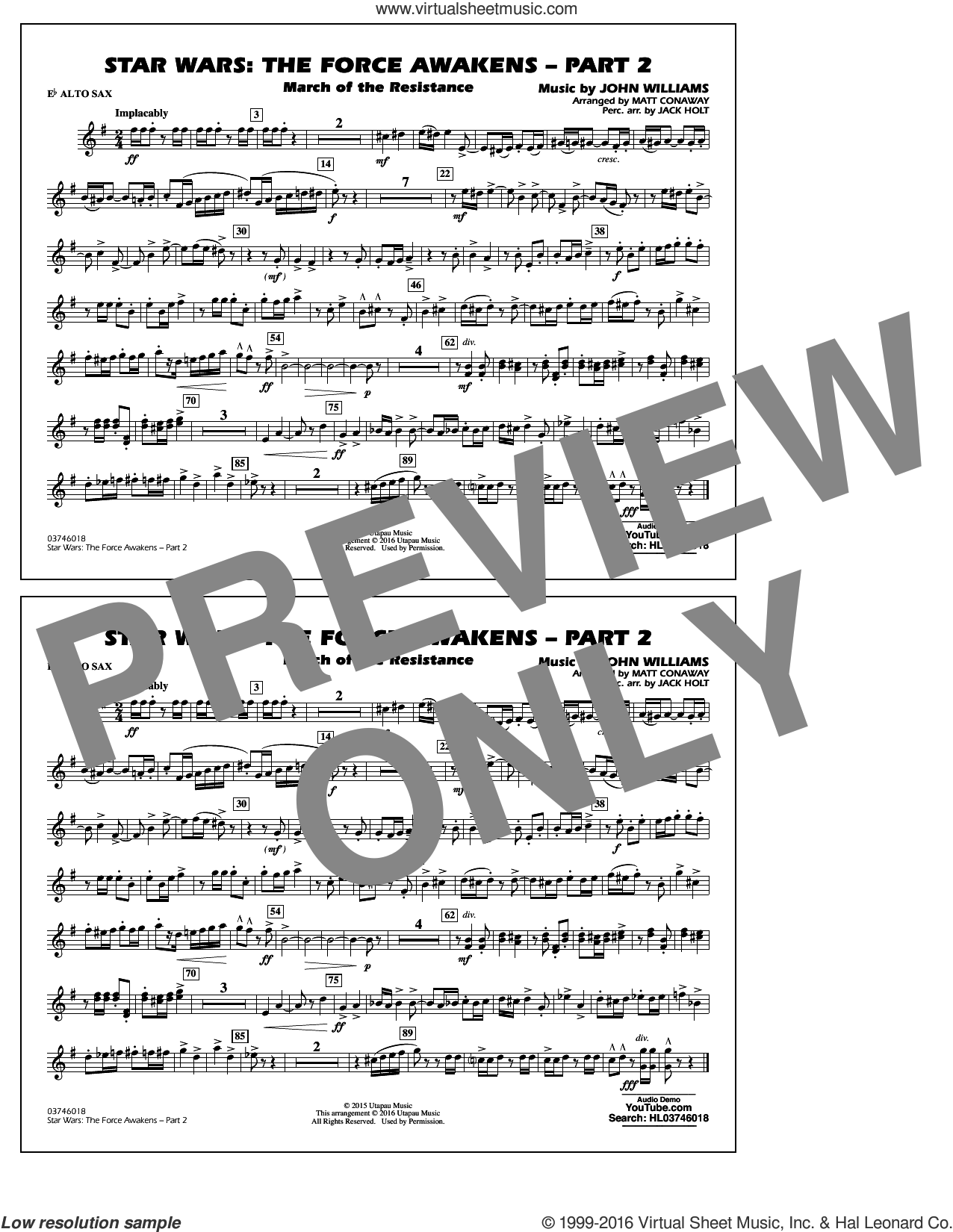Star Wars: The Force Awakens, part 2 sheet music for marching band (Eb alto sax) by John Williams and Matt Conaway, classical score, intermediate marching band (Eb alto sax). Score Image Preview.