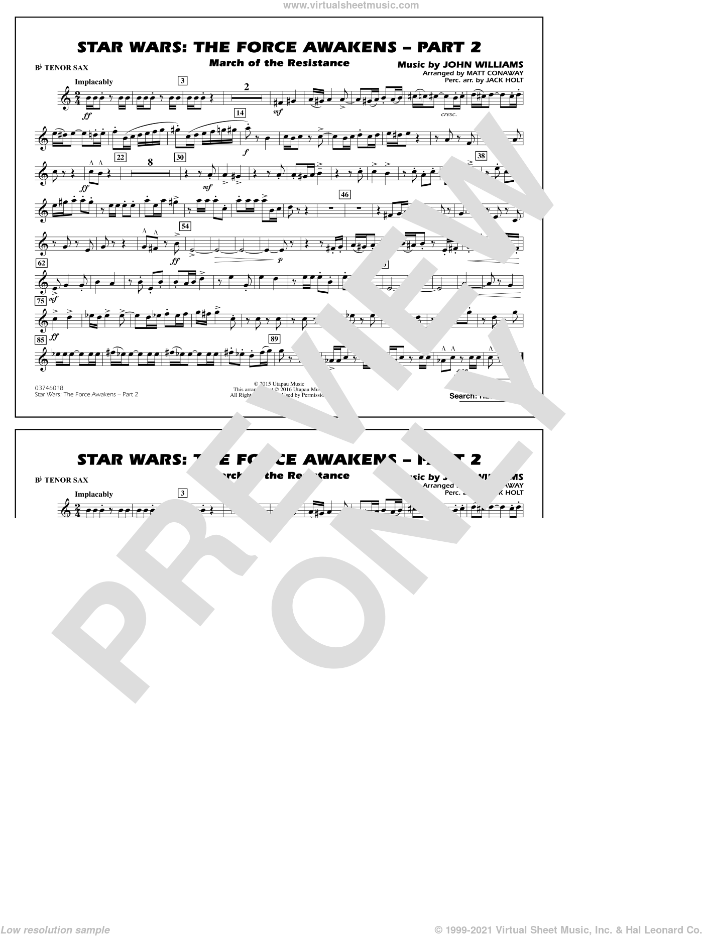Star Wars: The Force Awakens, part 2 sheet music for marching band (Bb tenor sax) by John Williams and Matt Conaway. Score Image Preview.