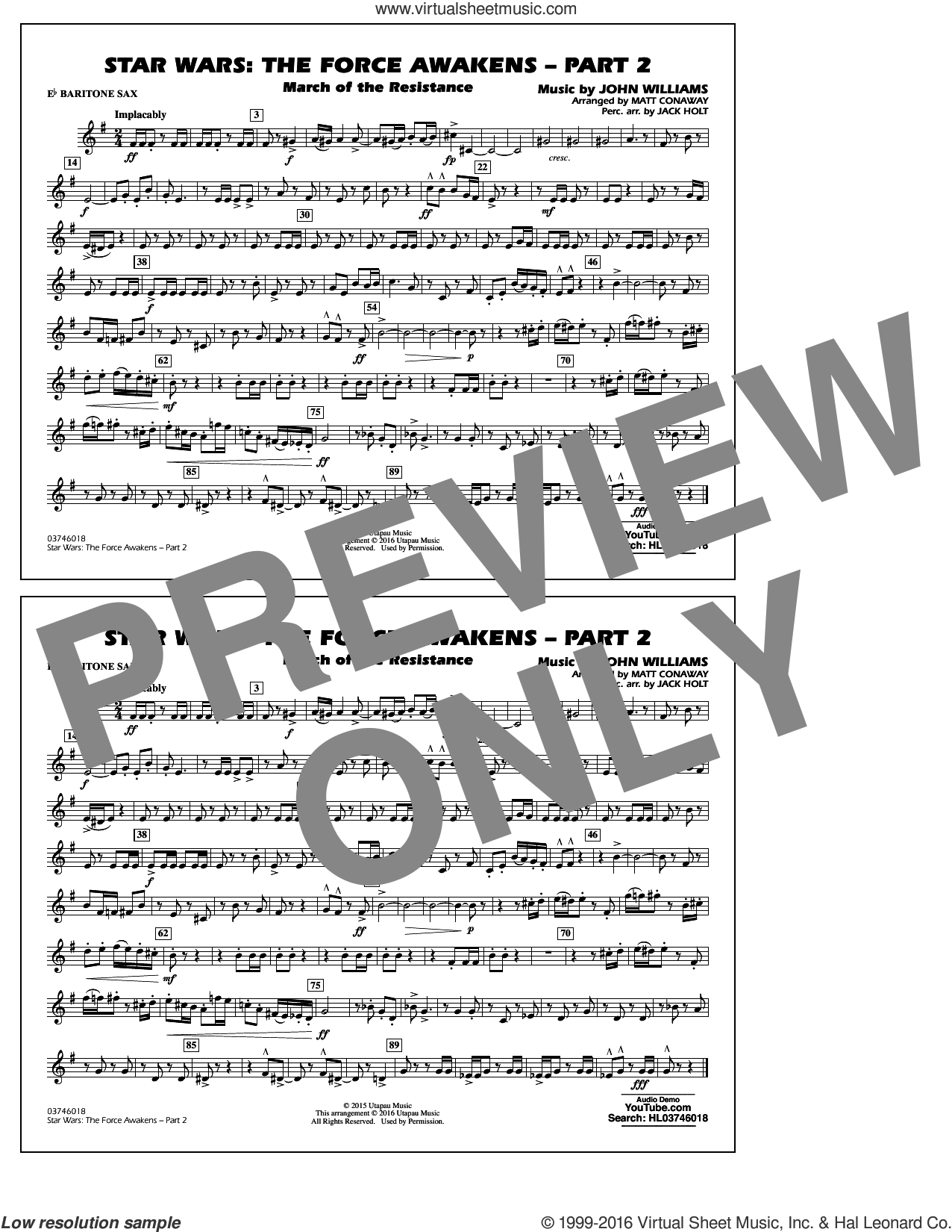 Star Wars: The Force Awakens, part 2 sheet music for marching band (Eb baritone sax) by John Williams and Matt Conaway. Score Image Preview.