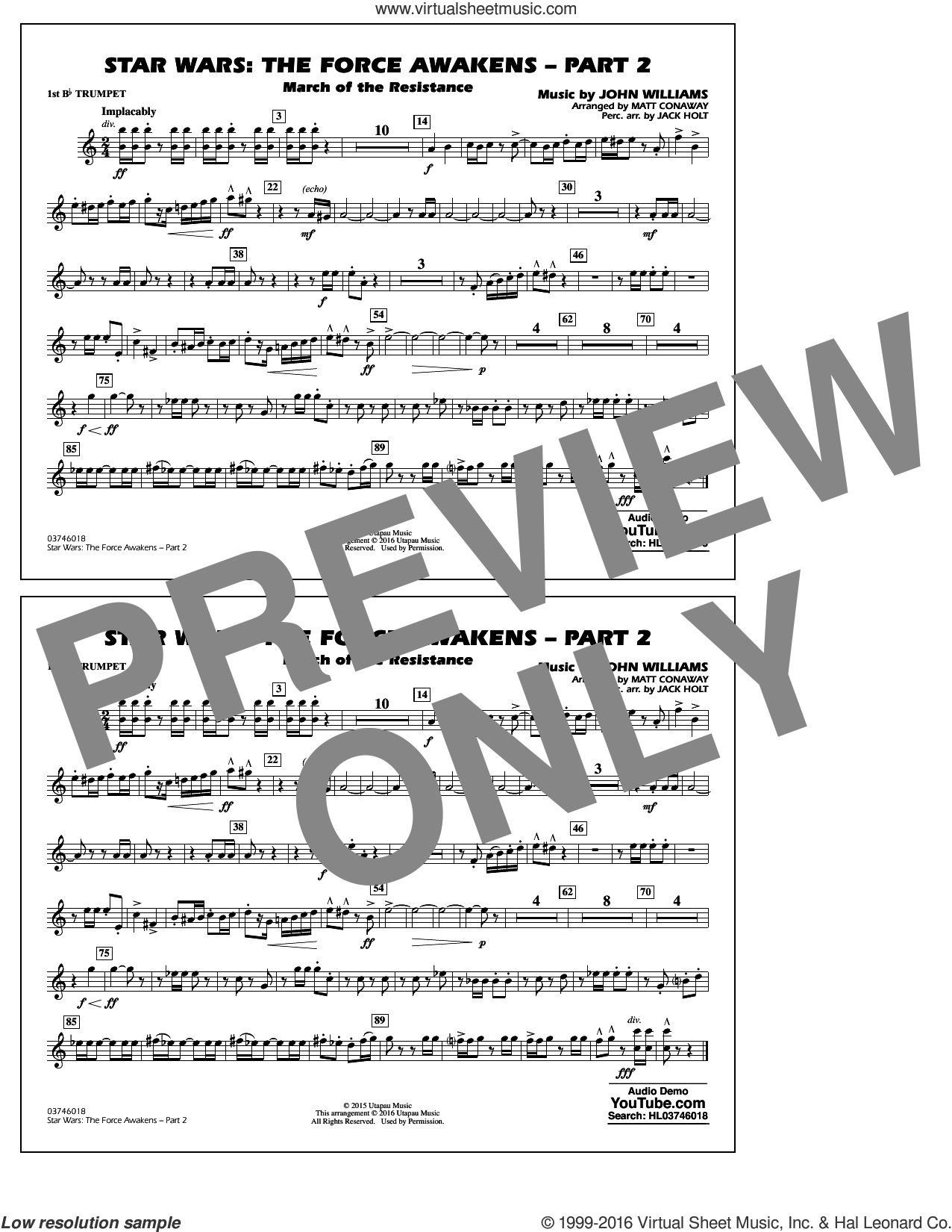 Star Wars: The Force Awakens, part 2 sheet music for marching band (1st Bb trumpet) by John Williams and Matt Conaway. Score Image Preview.