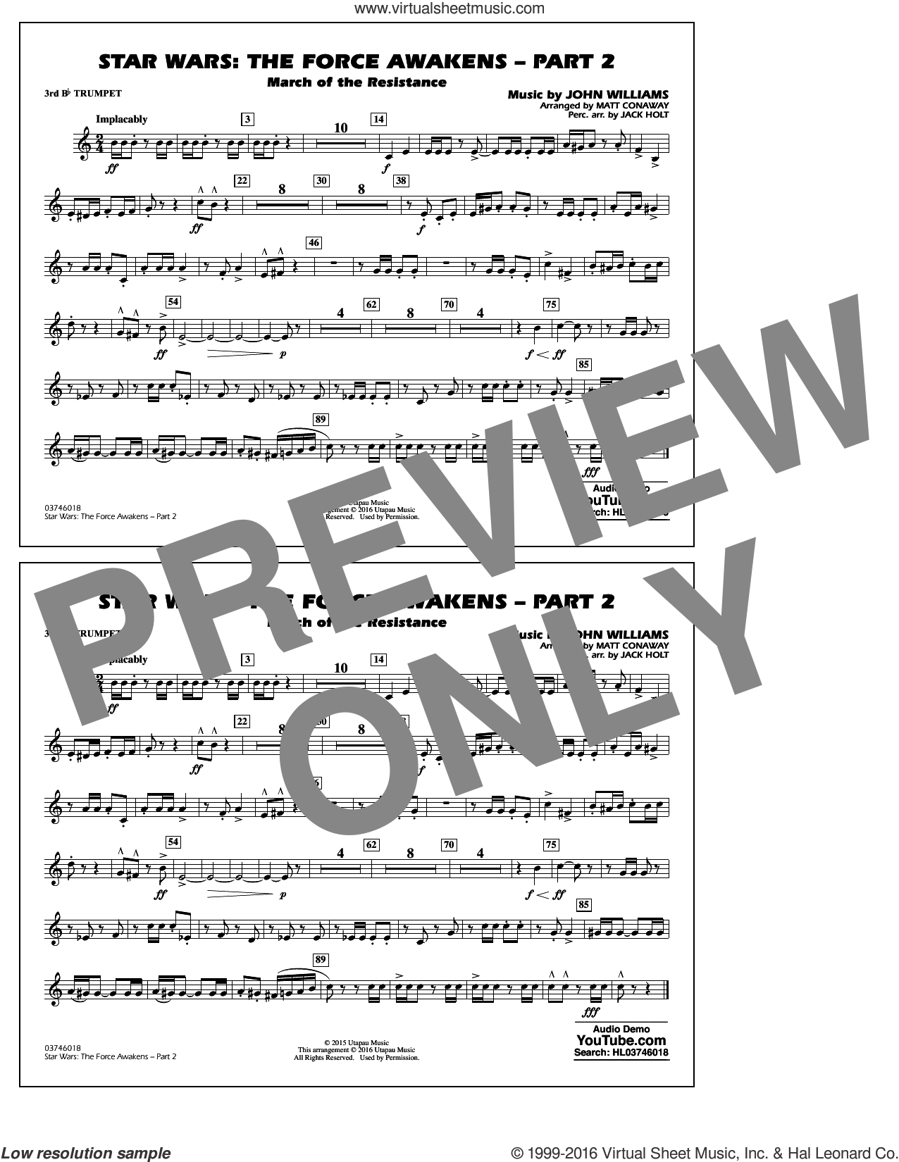 Star Wars: The Force Awakens, part 2 sheet music for marching band (3rd Bb trumpet) by John Williams and Matt Conaway, classical score, intermediate skill level