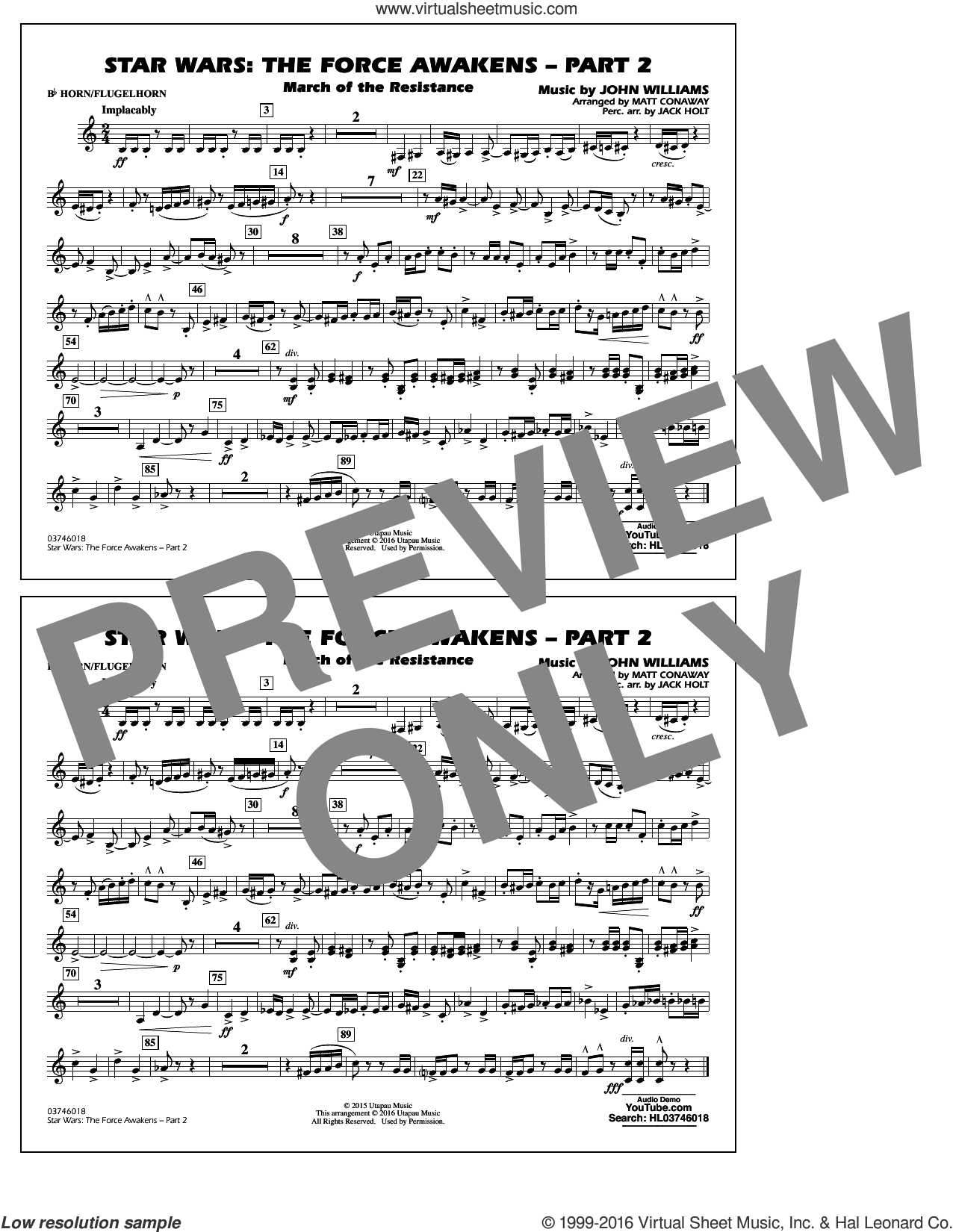 Star Wars: The Force Awakens, part 2 sheet music for marching band (Bb horn/flugelhorn) by John Williams and Matt Conaway. Score Image Preview.