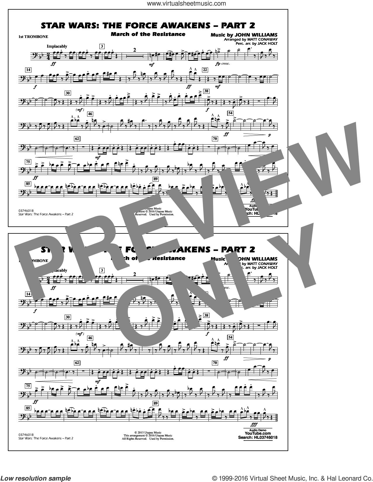 Star Wars: The Force Awakens, part 2 sheet music for marching band (1st trombone) by John Williams and Matt Conaway. Score Image Preview.