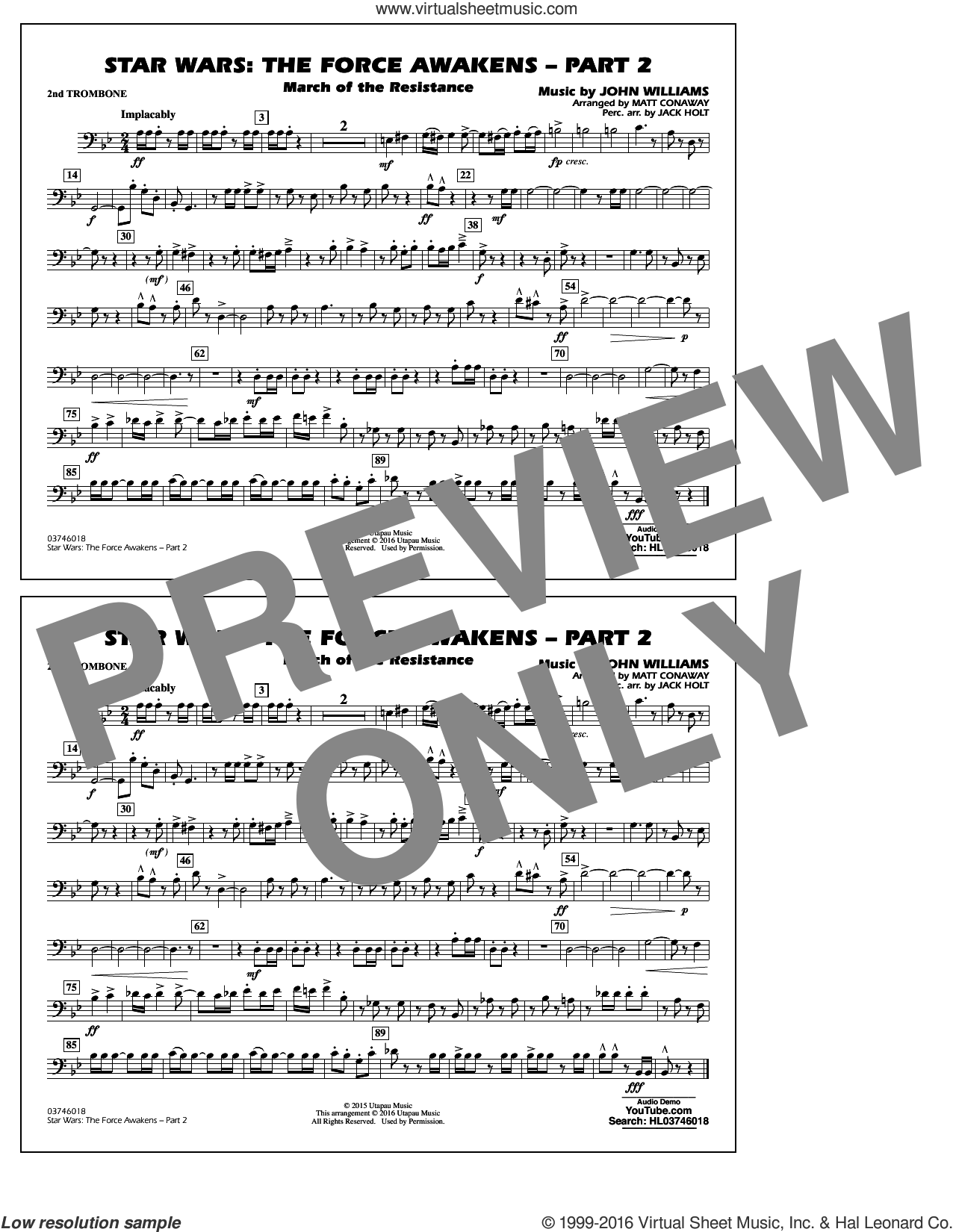 Star Wars: The Force Awakens, part 2 sheet music for marching band (2nd trombone) by John Williams and Matt Conaway. Score Image Preview.