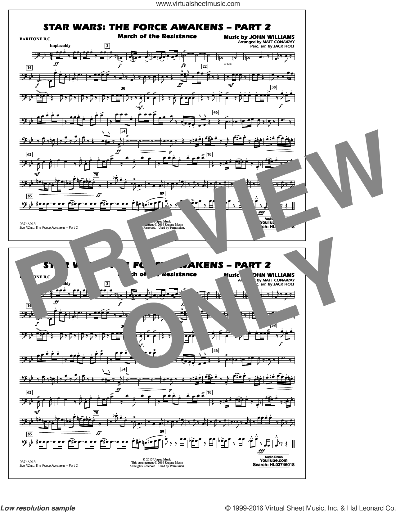 Star Wars: The Force Awakens, part 2 sheet music for marching band (baritone b.c.) by John Williams and Matt Conaway, classical score, intermediate