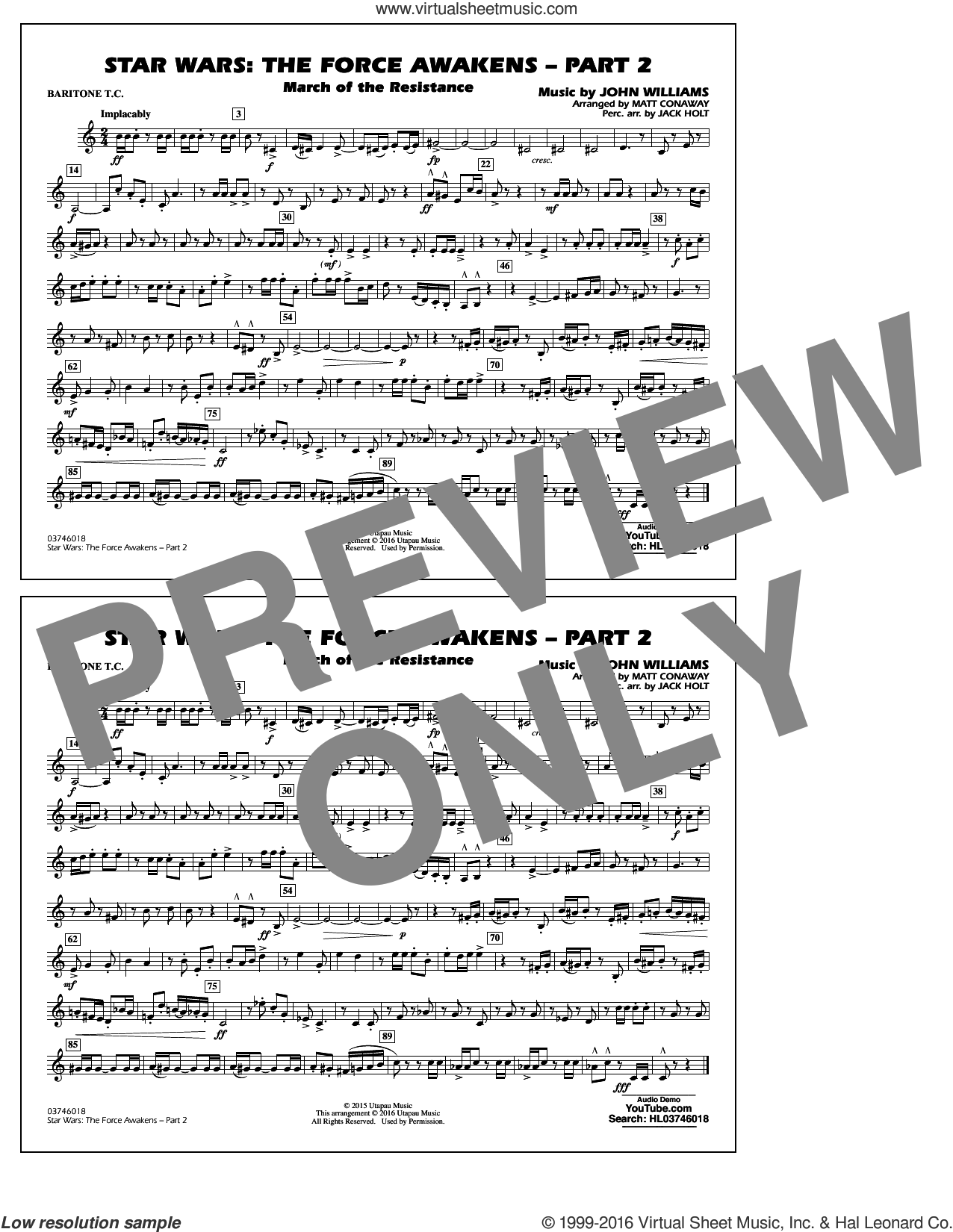 Star Wars: The Force Awakens, part 2 sheet music for marching band (baritone t.c.) by John Williams and Matt Conaway, classical score, intermediate skill level