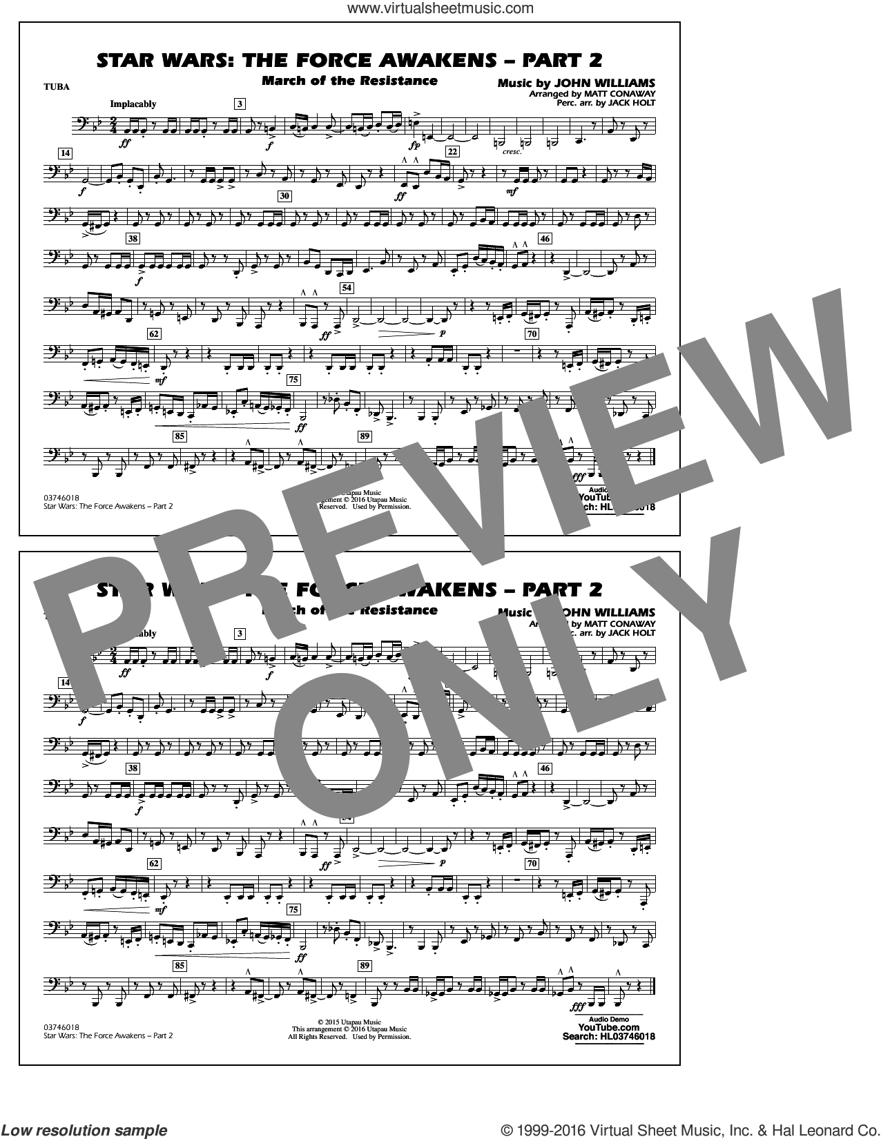 Star Wars: The Force Awakens, part 2 sheet music for marching band (tuba) by John Williams and Matt Conaway, classical score, intermediate skill level