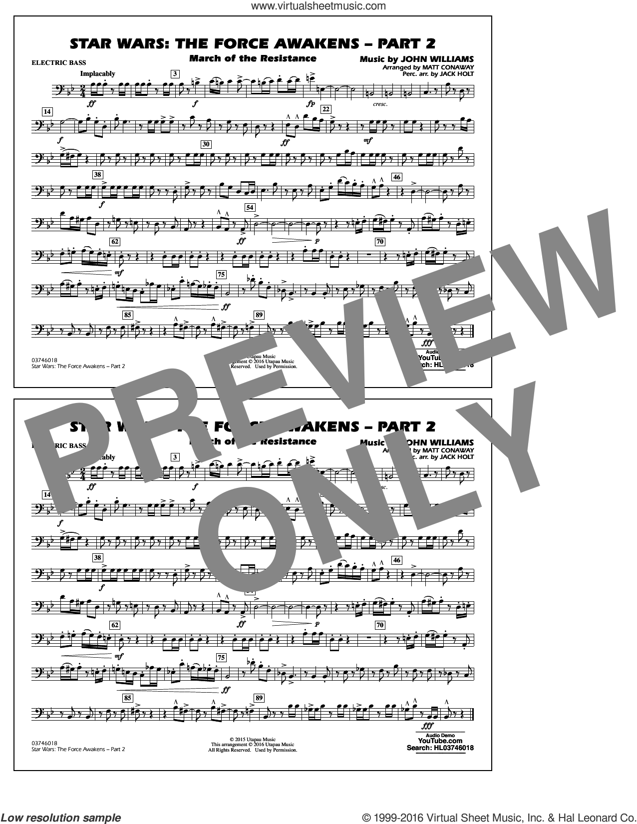 Star Wars: The Force Awakens, part 2 sheet music for marching band (electric bass) by John Williams and Matt Conaway, classical score, intermediate skill level