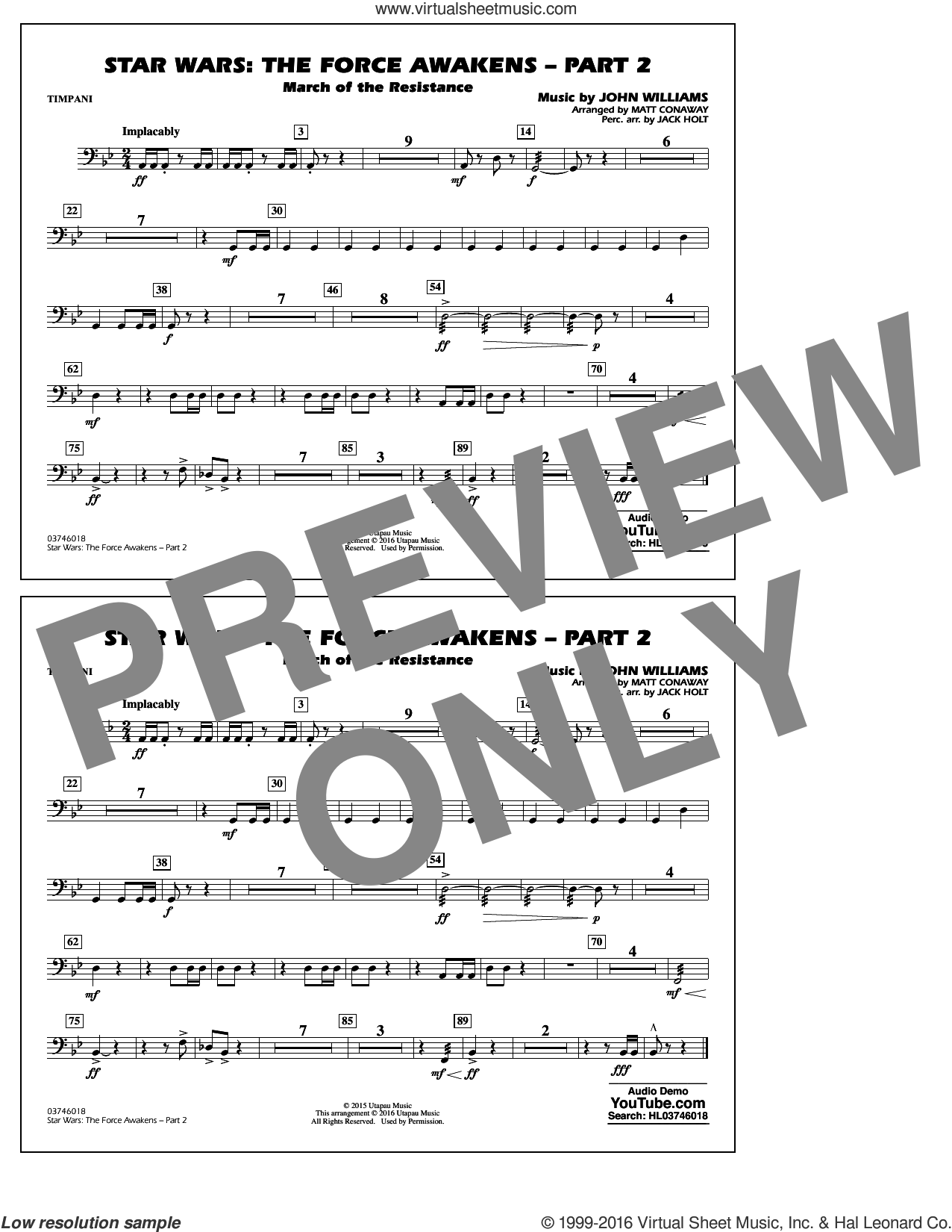 Star Wars: The Force Awakens, part 2 sheet music for marching band (timpani) by John Williams and Matt Conaway, classical score, intermediate skill level