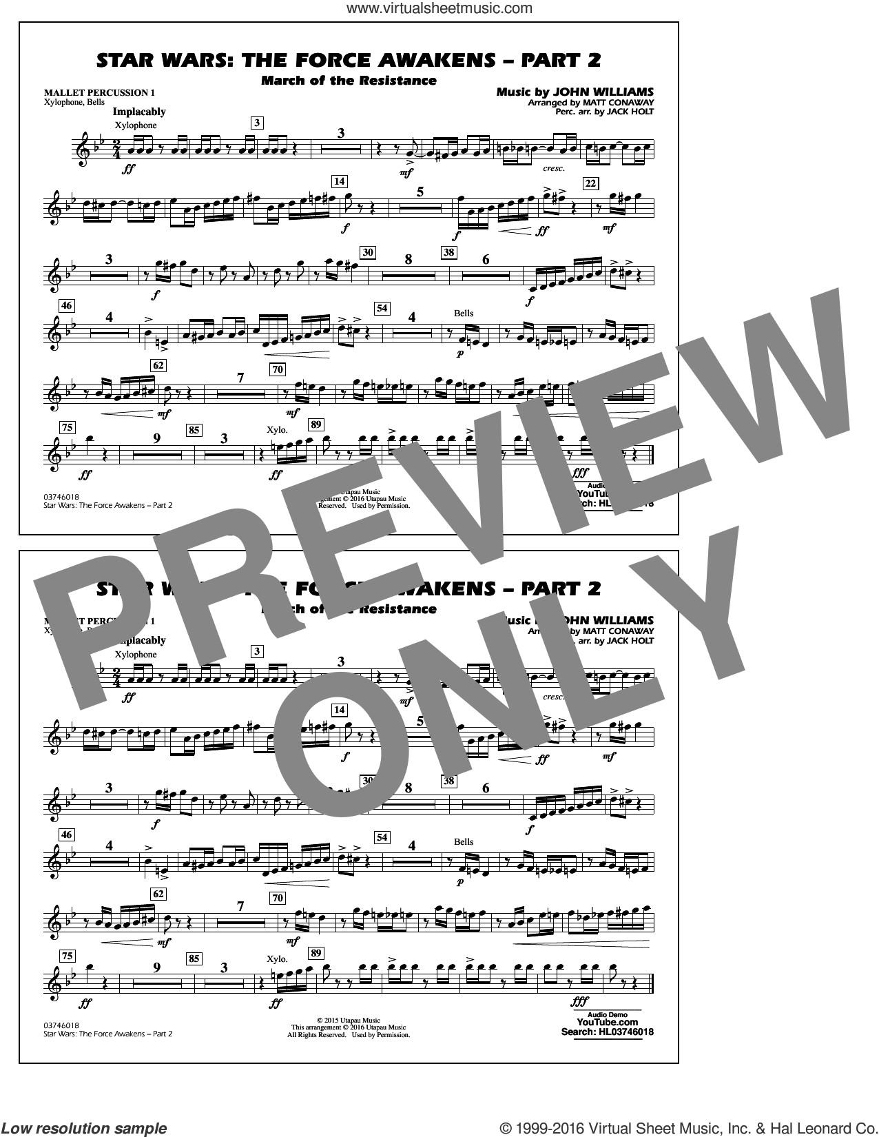 Star Wars: The Force Awakens, part 2 sheet music for marching band (mallet percussion 1) by John Williams and Matt Conaway, classical score, intermediate skill level