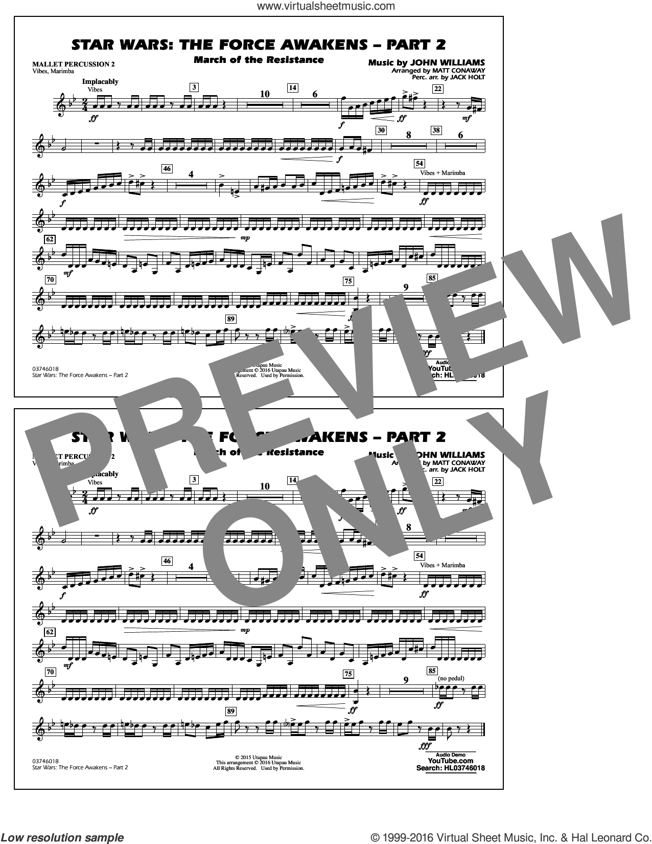 Star Wars: The Force Awakens, part 2 sheet music for marching band (mallet percussion 2) by John Williams and Matt Conaway, classical score, intermediate skill level