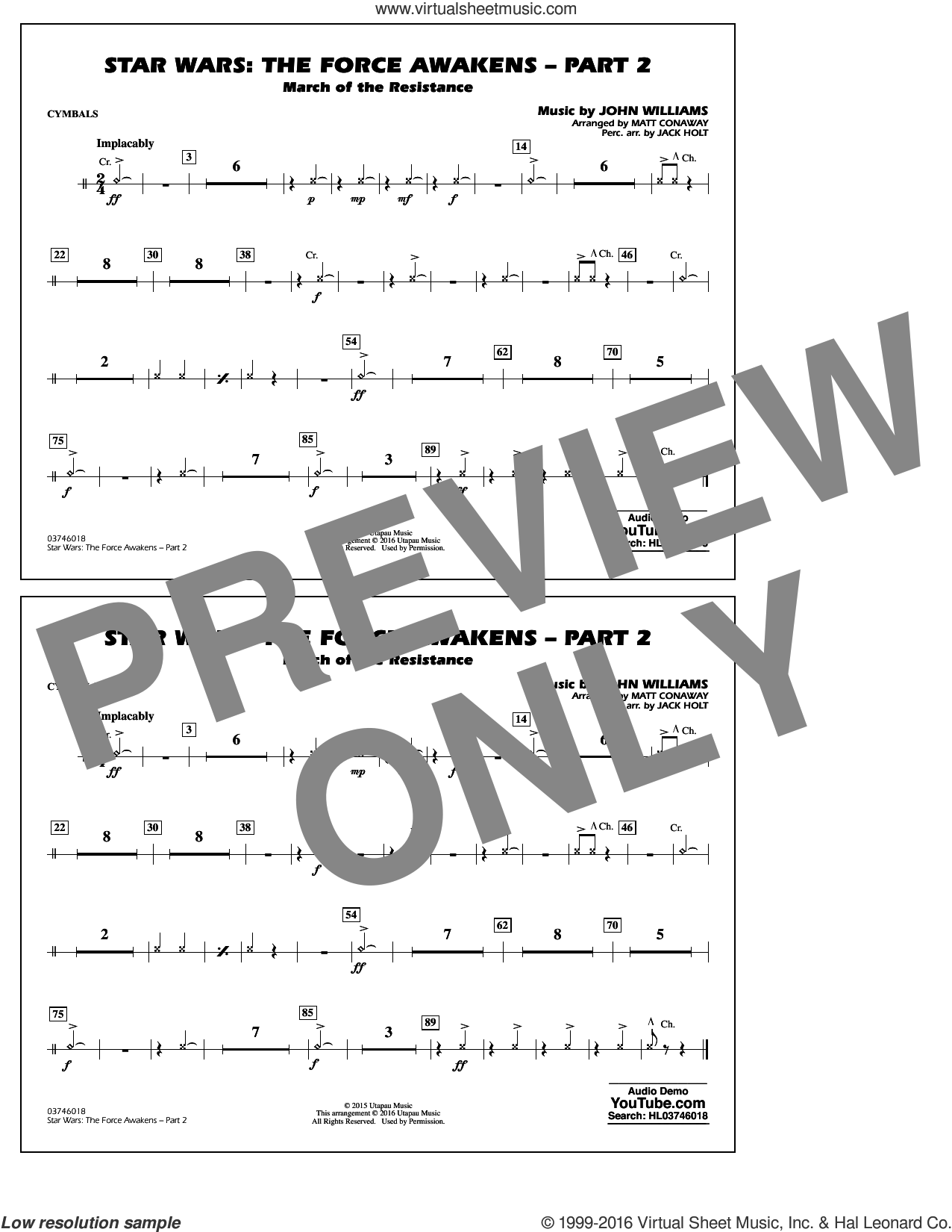 Star Wars: The Force Awakens, part 2 sheet music for marching band (cymbals) by John Williams and Matt Conaway, classical score, intermediate skill level