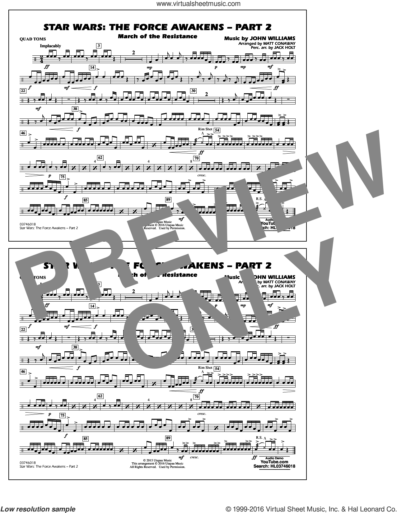 Star Wars: The Force Awakens, part 2 sheet music for marching band (quad toms) by John Williams and Matt Conaway. Score Image Preview.