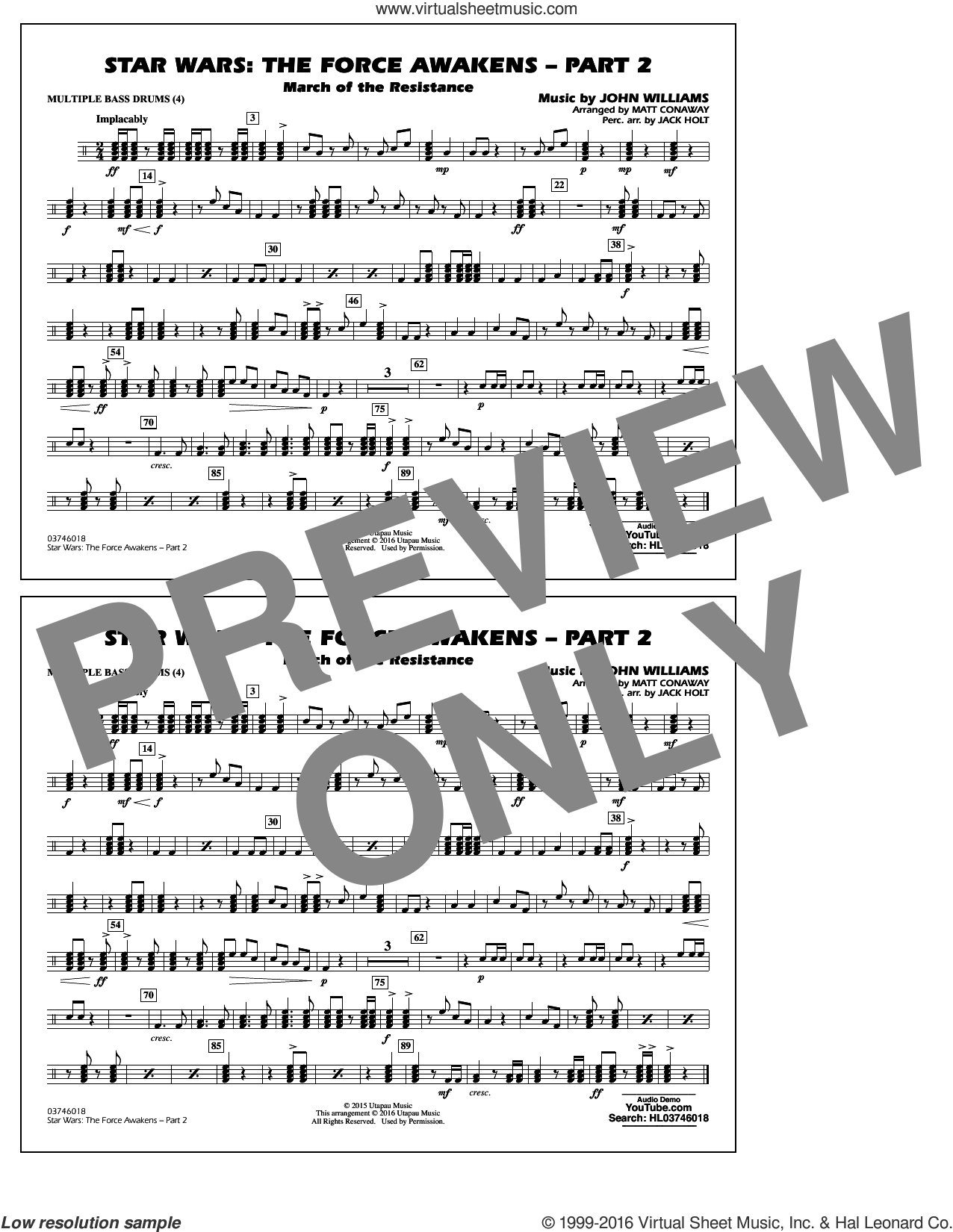 Star Wars: The Force Awakens, part 2 sheet music for marching band (multiple bass drums) by John Williams and Matt Conaway, classical score, intermediate. Score Image Preview.