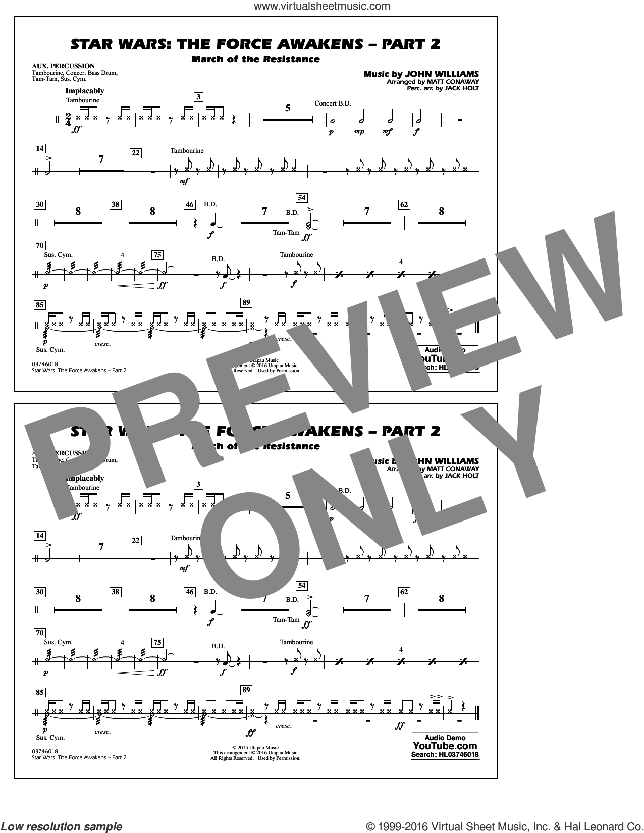 Star Wars: The Force Awakens, part 2 sheet music for marching band (aux percussion) by John Williams and Matt Conaway. Score Image Preview.