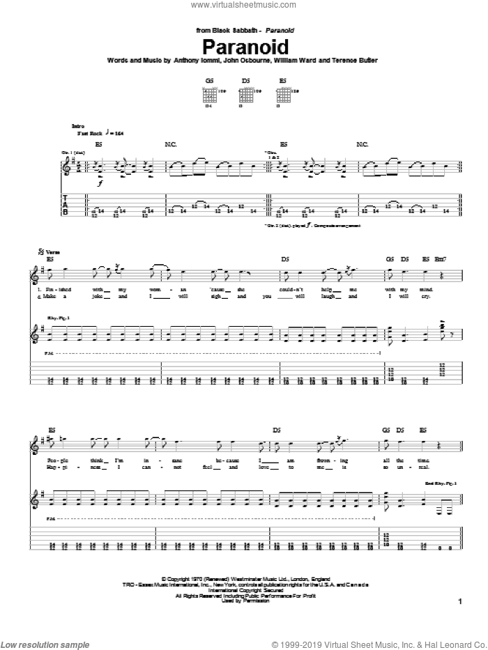Paranoid sheet music for guitar (tablature) by Terence Butler, Black Sabbath and Ozzy Osbourne. Score Image Preview.