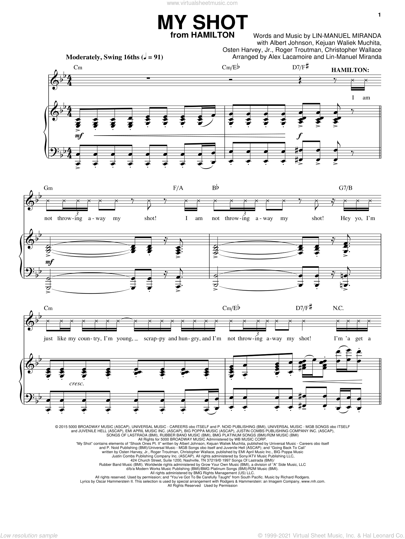 My Shot (from Hamilton) sheet music for voice and piano by Lin-Manuel Miranda, Alex Lacamoire, Albert Johnson, Christopher Wallace, Kejuan Waliek Muchita, Osten Harvey, Jr. and Roger Troutman, intermediate skill level